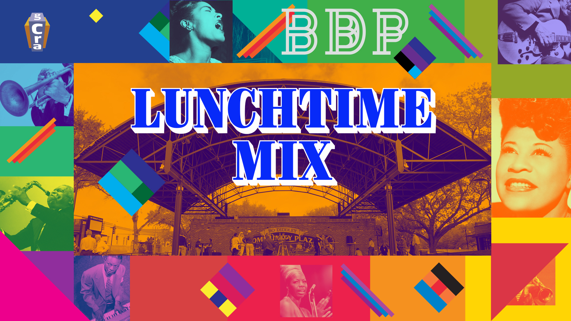COME DOWN TO BO DIDDLEY PLAZA AND ENJOY YOUR LUNCH WHILE YOU LISTEN TO AND ECLECTIC MIX OF JAZZ.