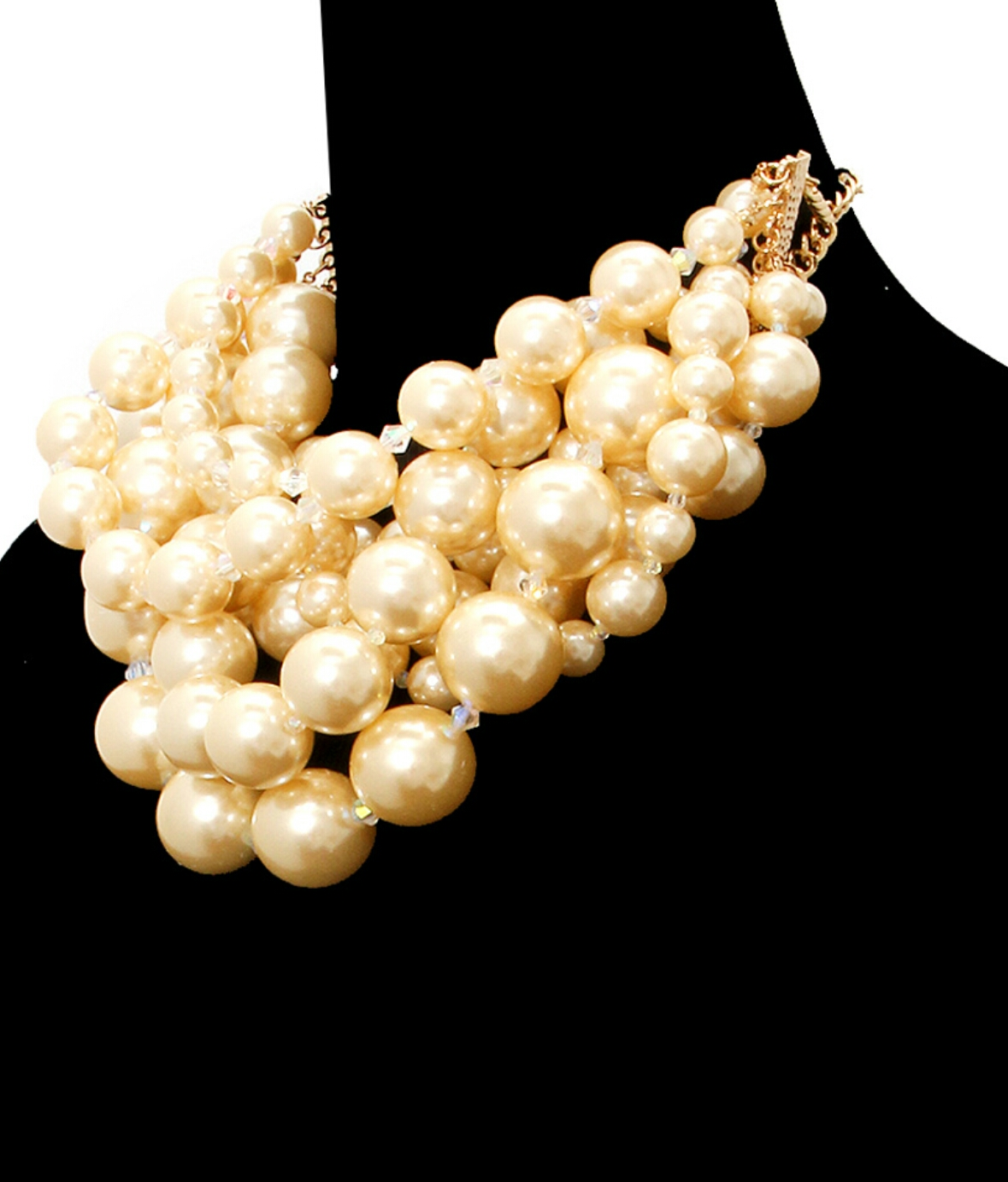 New Arrival  Champagne tone pearls chunky layered necklace set with lobster clasp closure