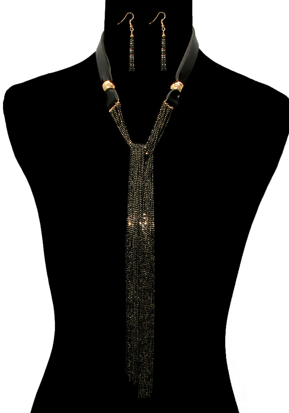 New Arrival  Black faux leather toggle closure necklace set with mint beads chain layers