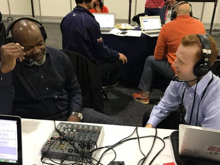 Interviewing NFL Hall of Famer Emmitt Smith at Radio Row in Atlanta