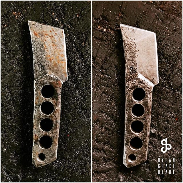 Wanted to show off this finish again. On the left I intentionally let it rust up real good. On the right is literally 2 minutes later. Fine steel wool. A little oil. Touch up the edge on a leather belt. If you've ever had a knife made from tool steel you'll marvel at how tough it is but it's going to rust. You can and should be carful but if you use your knives (and you should) they will eventually get some rust. That's why I wanted to develop a finish that could take it, get cleaned up, and come back for more.