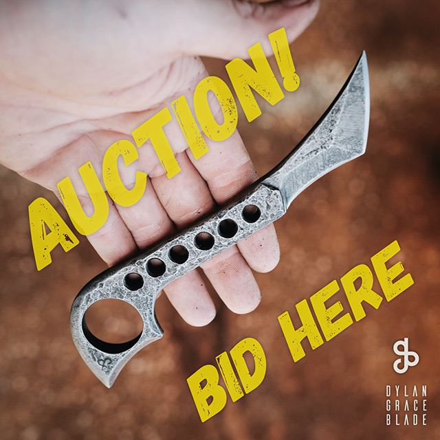 """It's AUCTION TIME! What's up for grabs is this onenoff Karambit. Made super fat 3/8"""" thick forged 01 tool steel that's been hardened in a computerized kiln for max toughness and edge retention. Blade is tapered down to just under 1/4"""" thick.  Comes with a press molded and hand-dyed leather sheath with either a concealed carry clip. (more pics and vids of this in the feed) . TO BID: simply say your bid in the comments section (on instagram). Let's start off at $50 and go up in at least $5 increments. If you win be ready to pay with PayPal. Auction closes at 10pm eastern time tomorrow night. (October 7) . You must be at least 18 years old and legally allowed to own this knife.  Happy bidding and thanks! **[international bidders welcome but you will pay a little extra for shipping] US shipping included."""