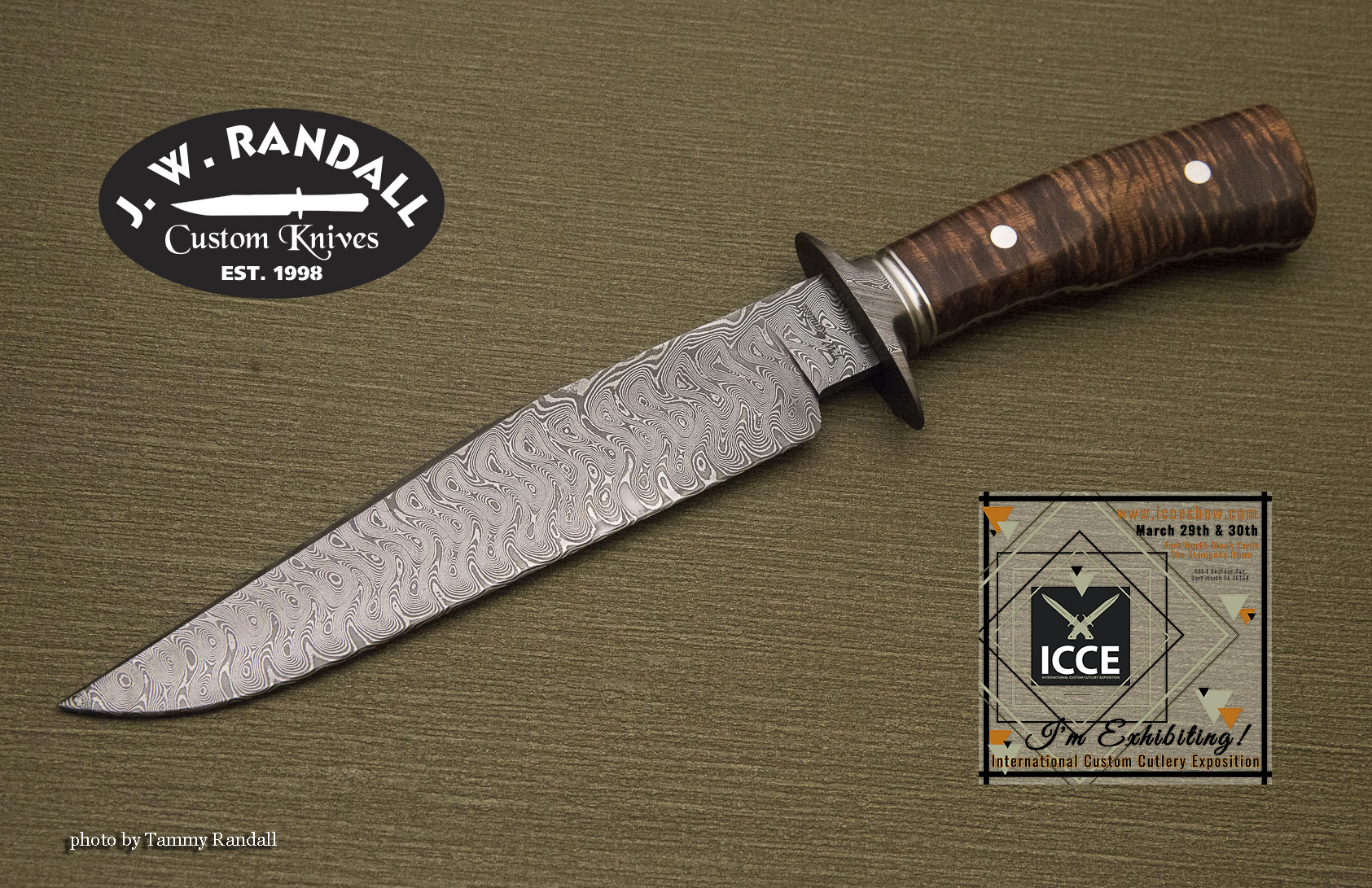 "Texas Wind fighter - 7 7/8"" blade, damascus guard, grooved stainless spacer, file worked false frame with koa handle"