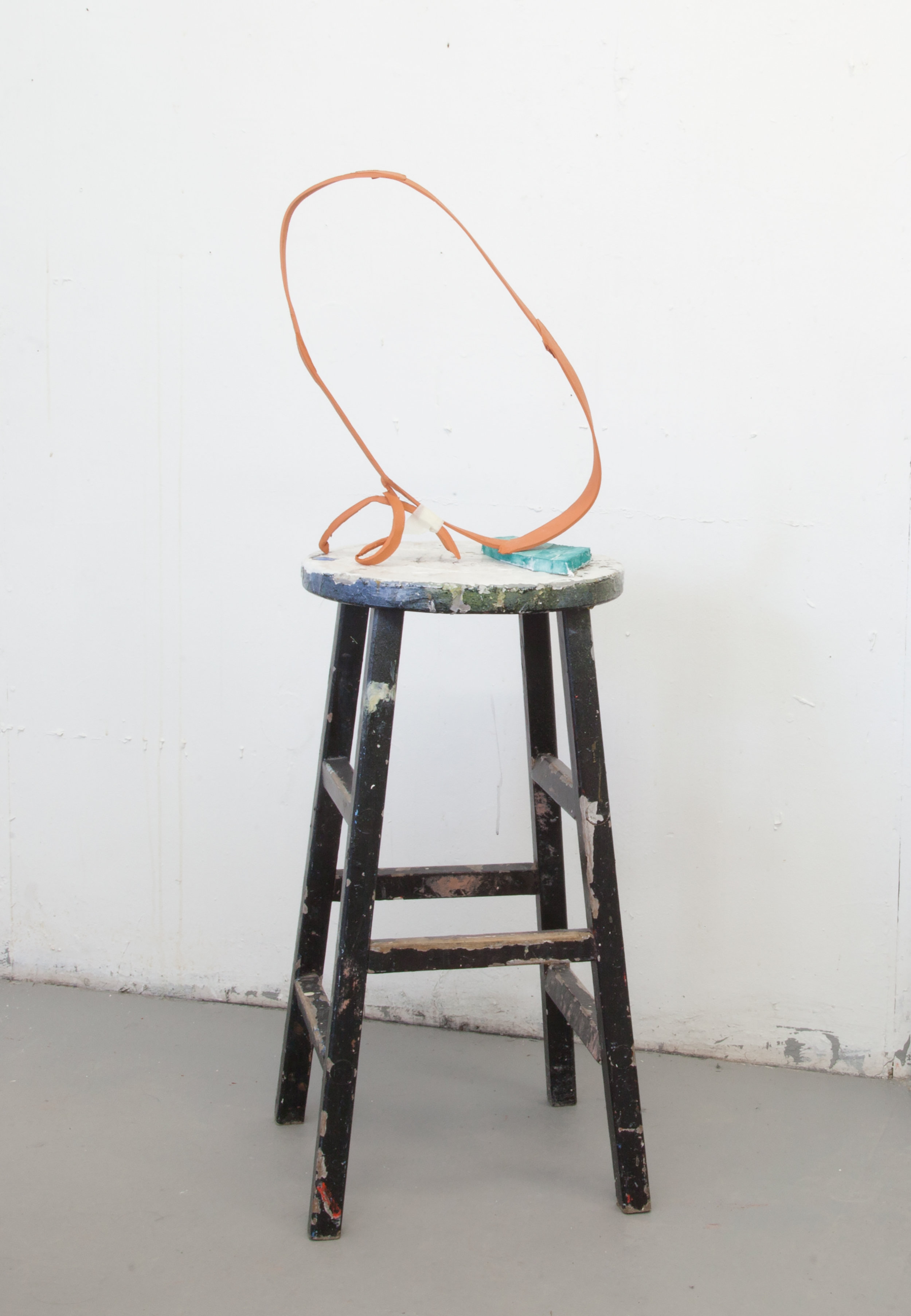 My Problem Is Thinking That I'm Full Of Problems  Ceramic, foam core, wax crayon, masking tape, stool 46h x 15l x 14w in 2018