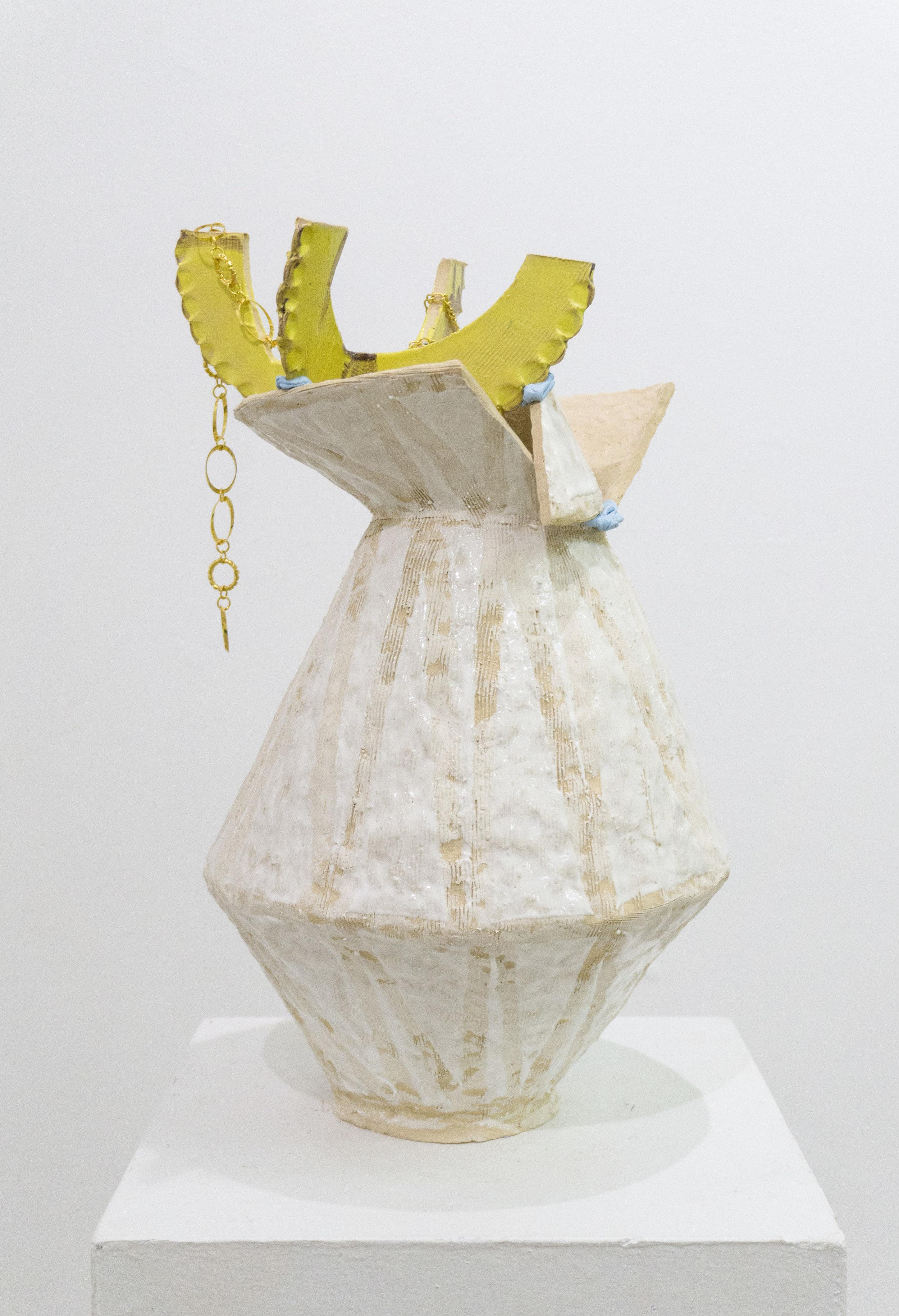Untitled  Ceramic, glaze, polymer clay, gold jewelry 22h x 14l x 12w in 2016