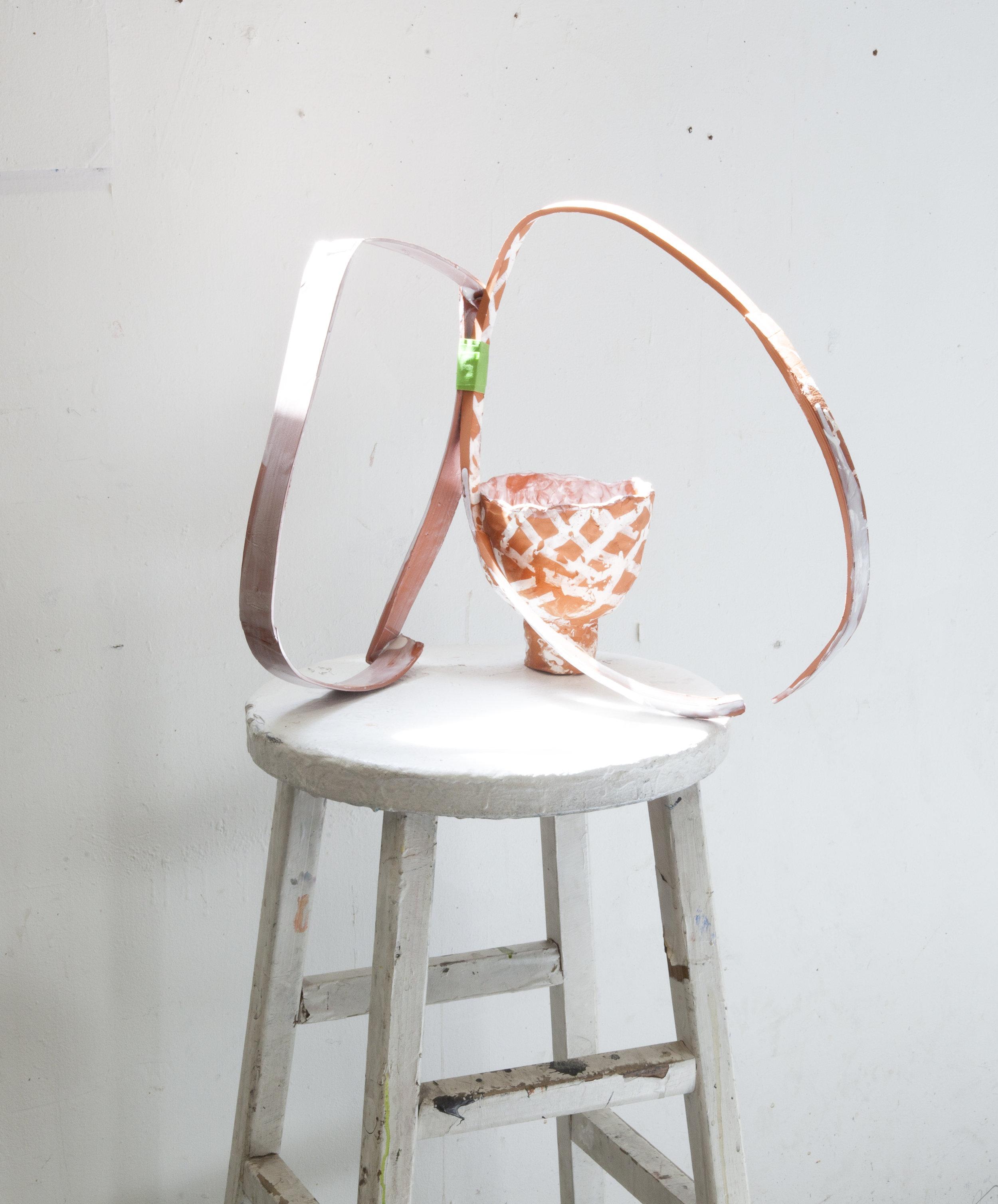 A False Desire  Ceramic, glaze, masking tape, stool 15h x 17l x 9w in 2018