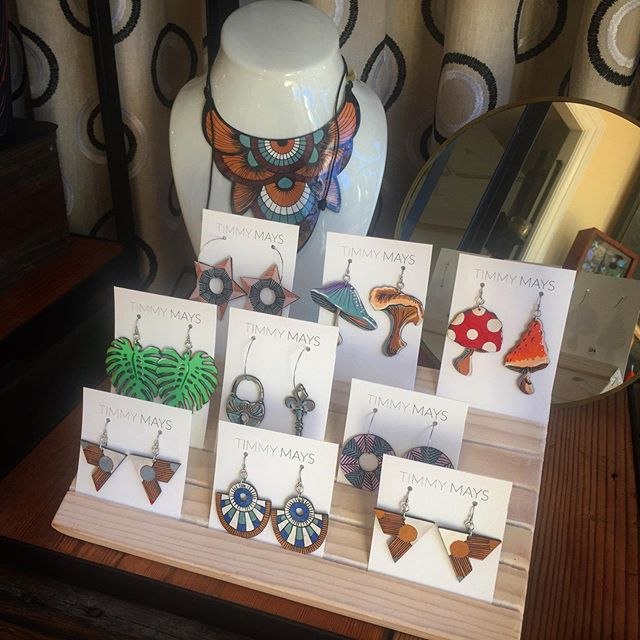Hand painted beauties from local artist, Timmy Mays! The amount of detail she puts into her work is on another level! . . . .  www.goldenmoongallery.com #handmadejewelry #womeninbiz #girlpower #supporthandmade #shopsmall #goldenmoongallery #handpainted #sanmateo #supportsmallbusiness #handmade #jewelry #necklace