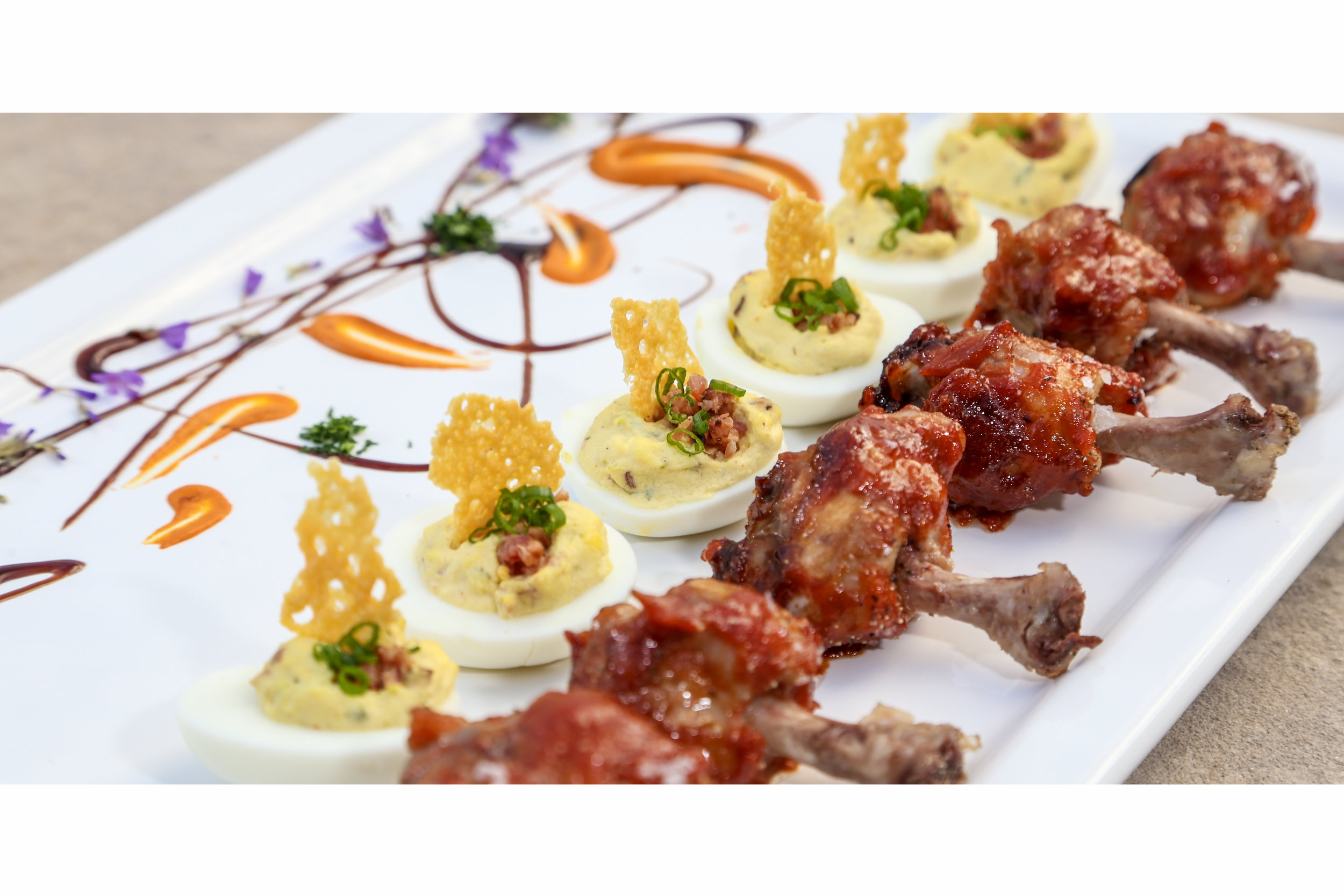 Bacon Jalapeno Deviled Eggs and French Chicken Drummets