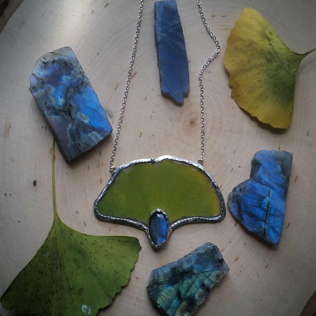 Ginkgo Leaf & Labradorite Necklace