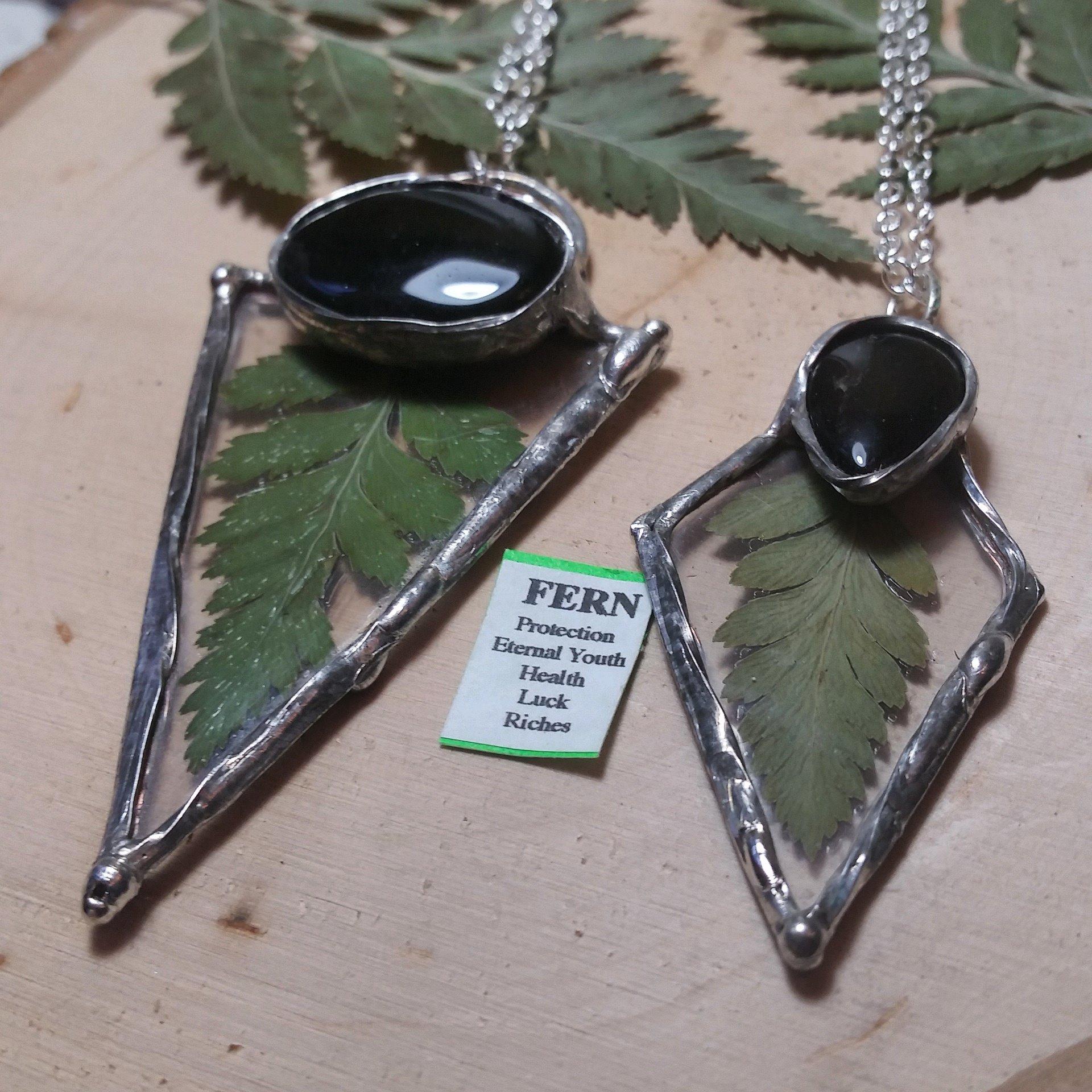 Fern & Black Agate Necklaces