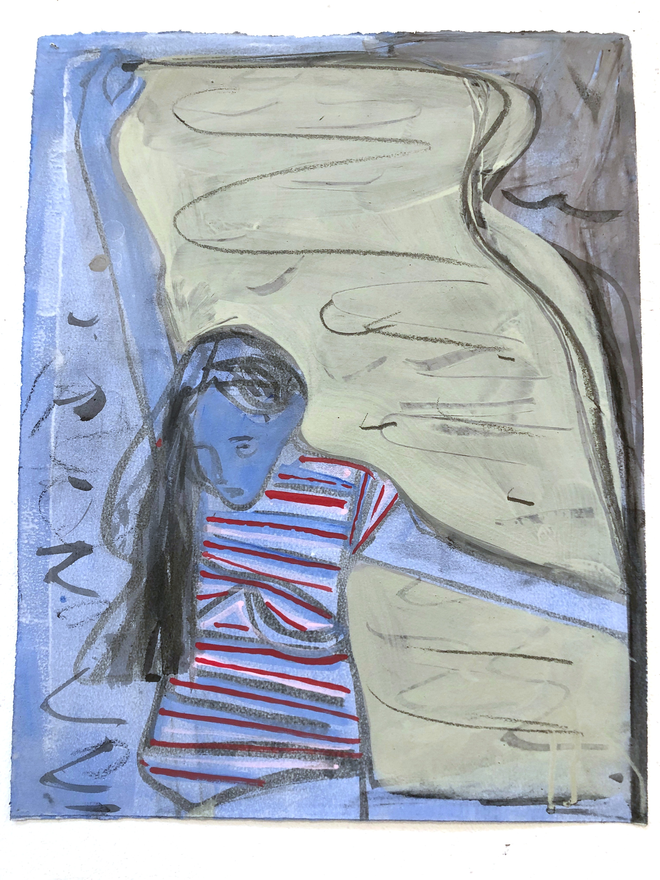 "Girl with Striped Shirt and Scarf  18.5"" x14.5""  2019"