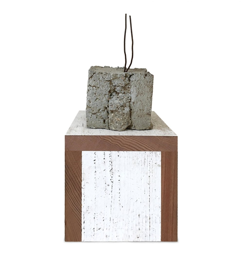 """a sigh of relief  steel, concrete, wood, paint  11"""" x 5"""" X 5"""""""