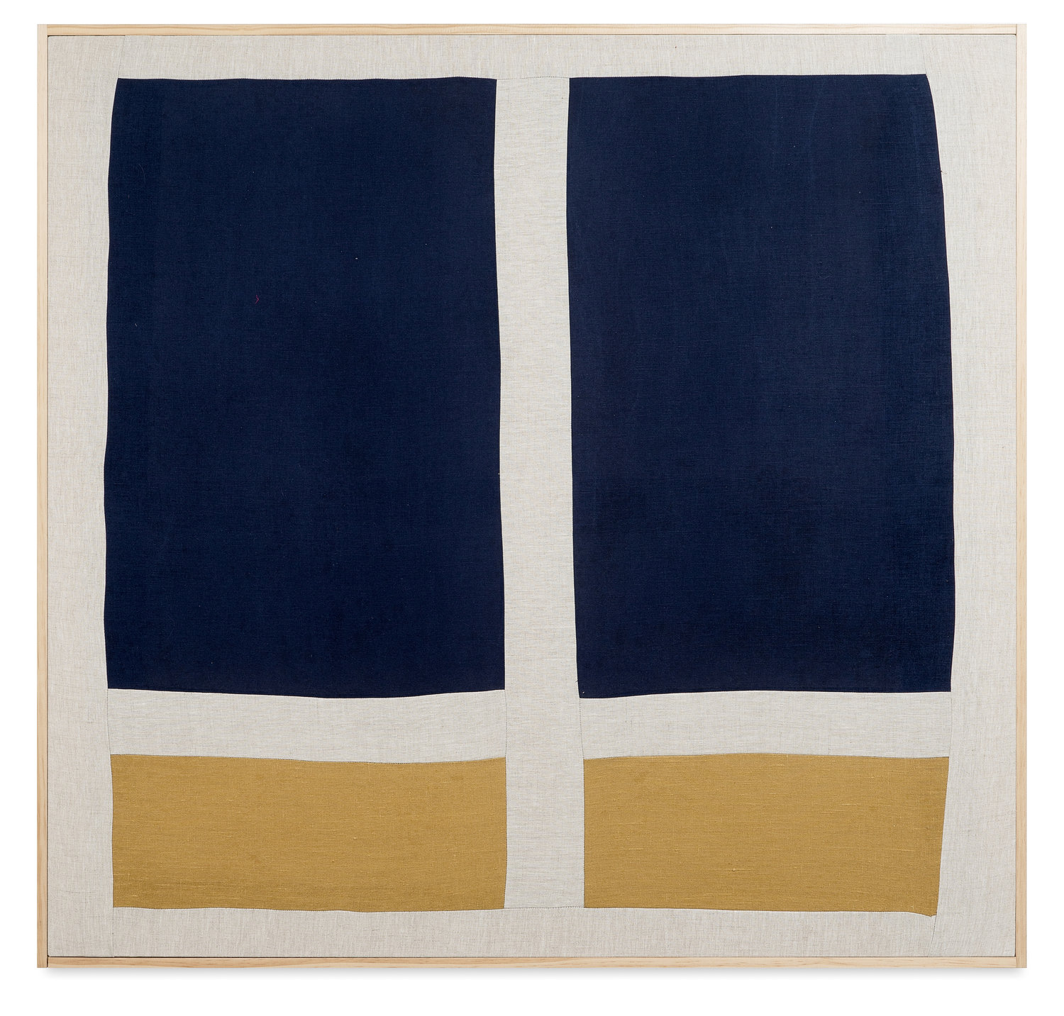 """spending the night in a different bed XXVII  quilted linen, pine and brass brad frame  41"""" x 43"""""""