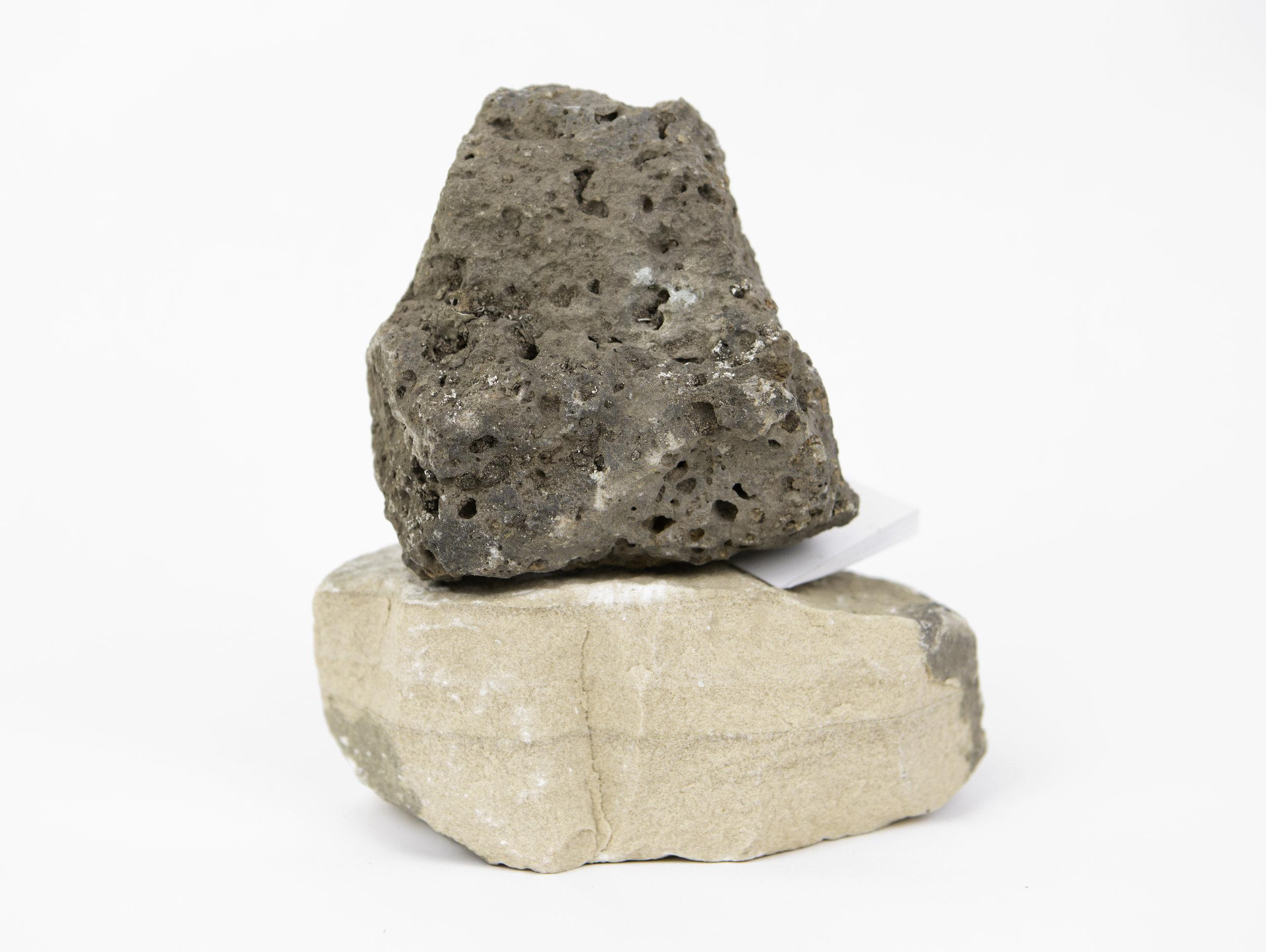 "untitled (wedge)  stone, mdf, paint  7"" x 6.5"" x 5"""