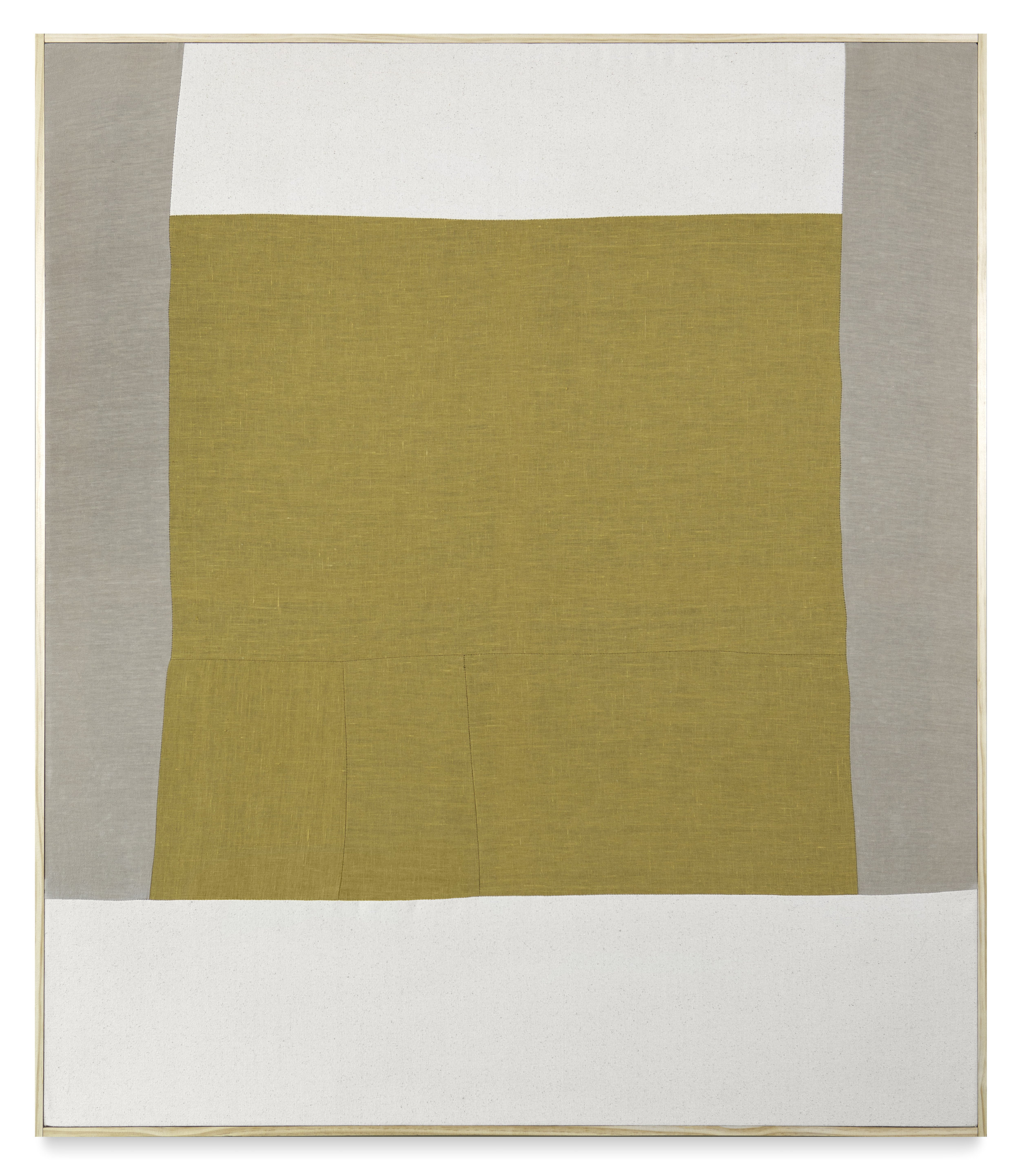 """spending the night in a different bed XXIX  quilted linen and canvas, pine and brass brad frame  57"""" x 49"""""""