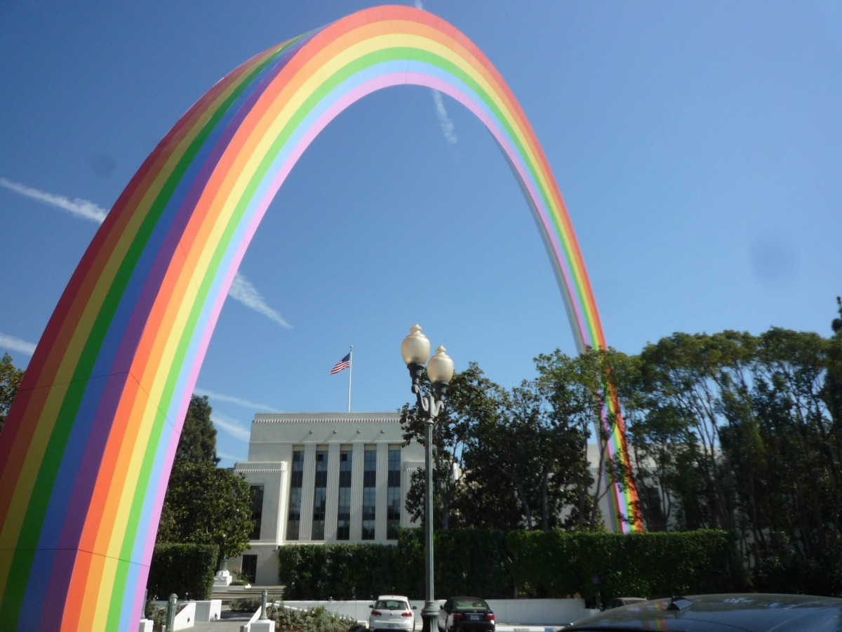The historic Thalberg Building is framed by  Rainbow. Like much of Tony Tasset's work, Rainbow takes imagery from popular culture and transforms it into sculpture, in this case the essential qualities of a rainbow, that is its distance and ephemerality are contradicted by the sheer physical presence of the sculpture.