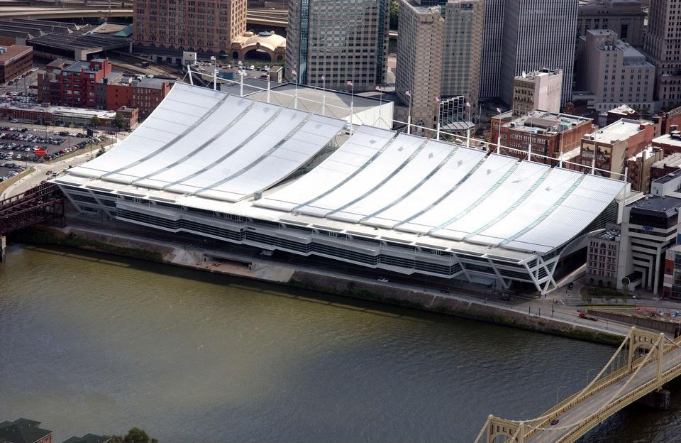 The David L. Lawrence Convention Center was designed by Rafael Viñoly for a prominent site in downtown Pittsburgh along the Allegheny River. An ambitious public art program was funded by local foundations spearheaded by the Heinz Endowments. A jury of arts professionals guided the art program through the selection of artists and the review of concepts.