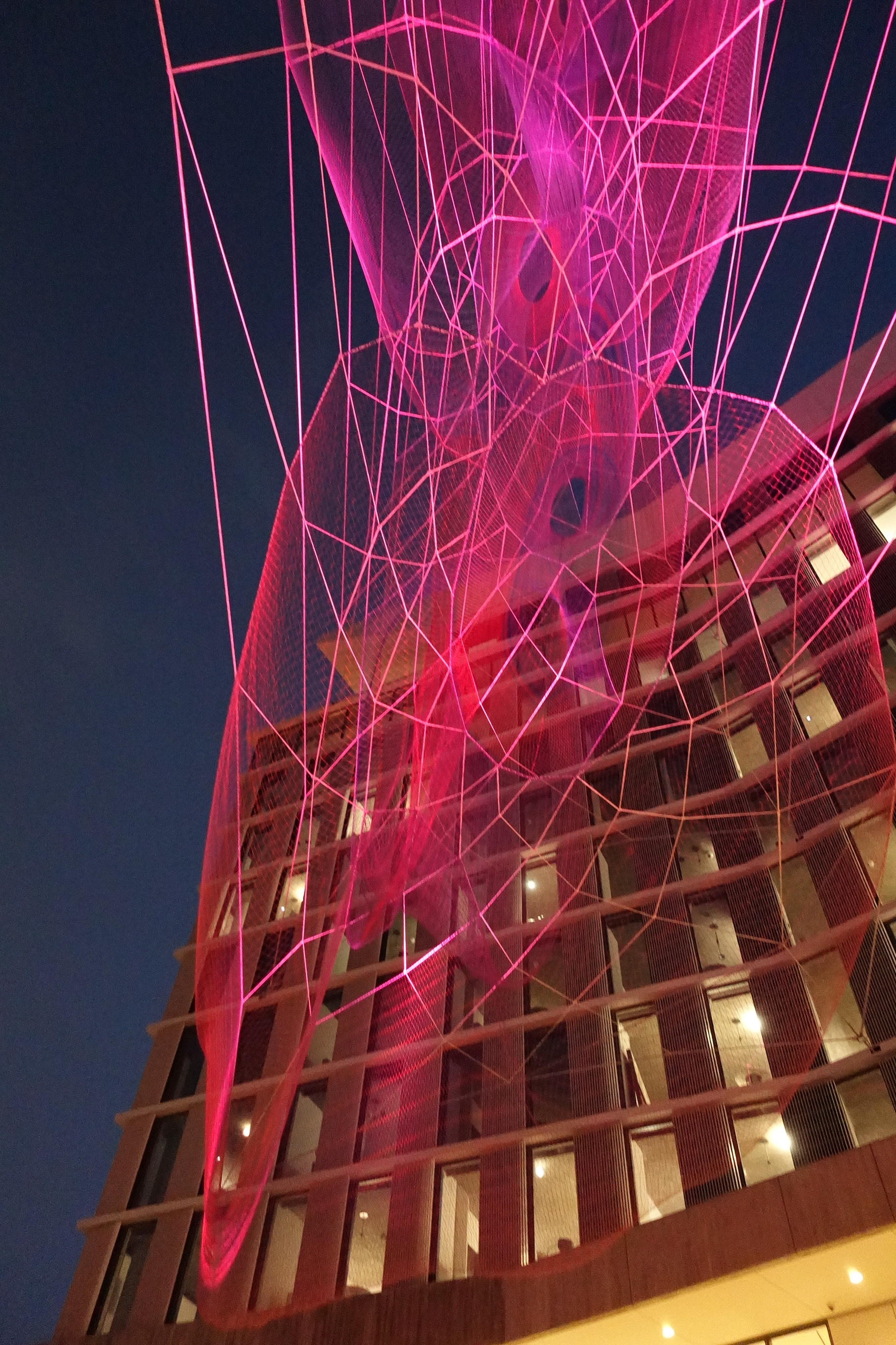 In this image the sculpture becomes a monochromatic deep magenta and as viewed from the motor court level of the primary reception area, one story down from the ground plane of Sunset Boulevard. The lighting program was inspired by cycles of REM sleep that an individual experiences during a night's rest.  Photo courtesy of: Nicole Wang/SOM Engineering, Courtesy Echelman Studio