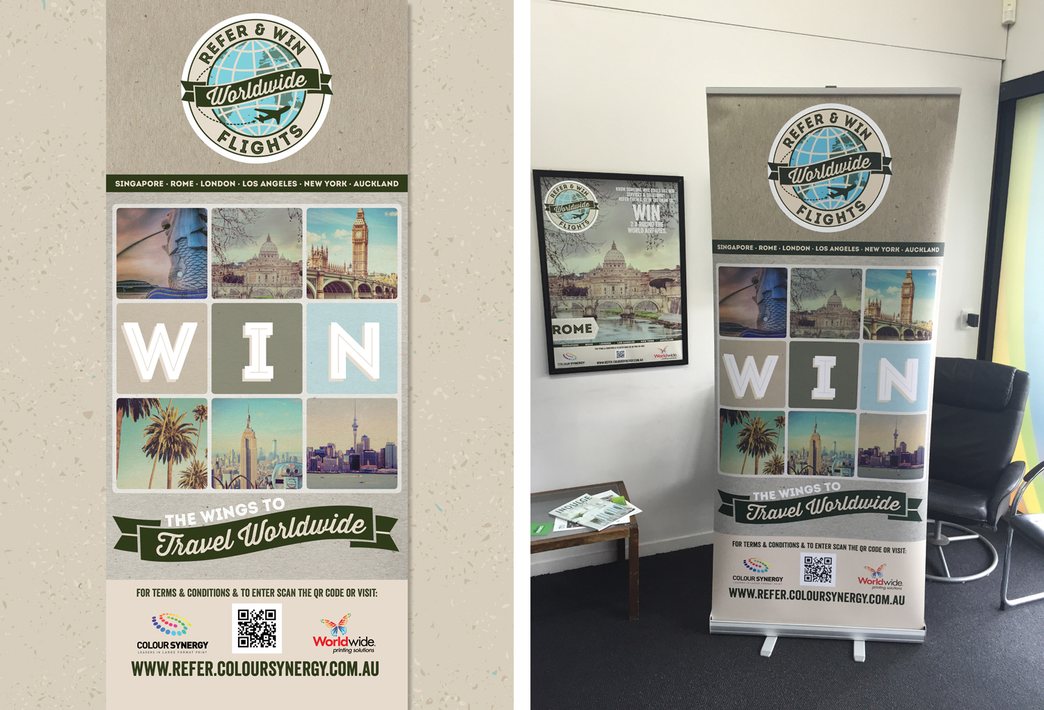 Worldwide Printing | Refer and Win Campaign Pull Up Banner
