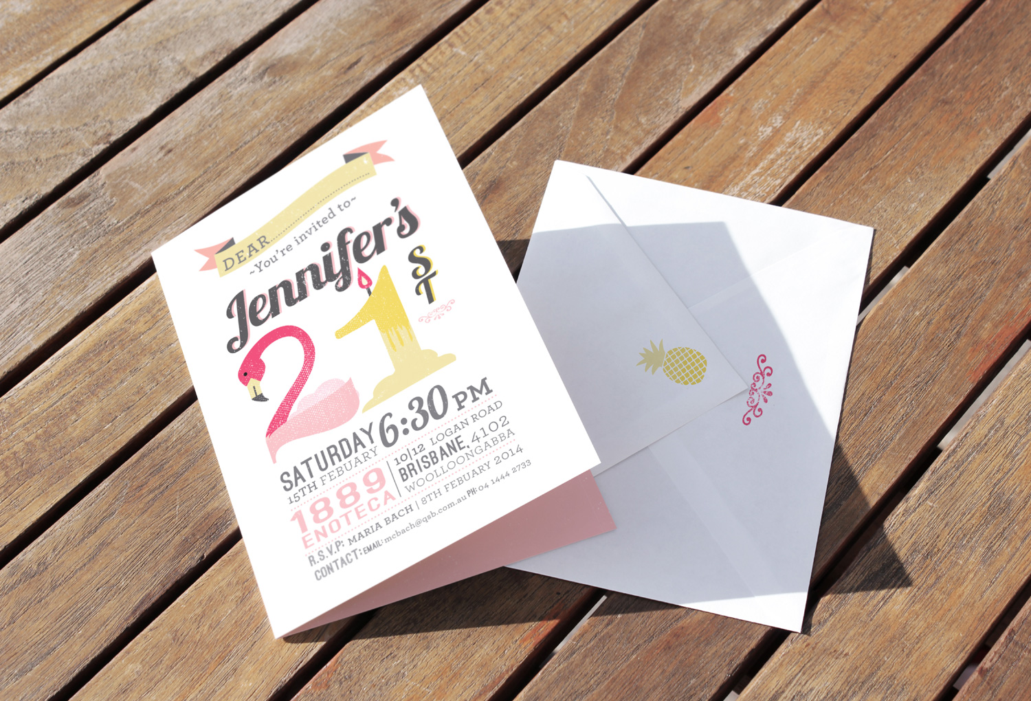 A5 21st Birthday Invitation for Jennifer