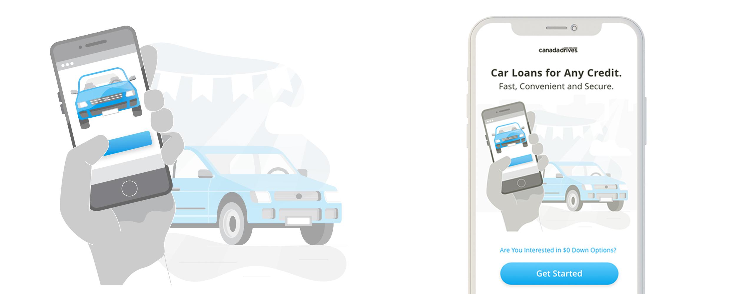 Illustration for website mobile landing page