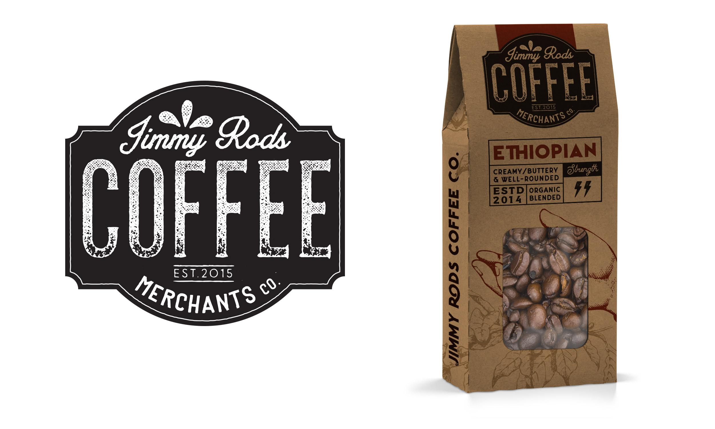 Jimmy Rods Coffee Merchants Co Logo   Packaging design