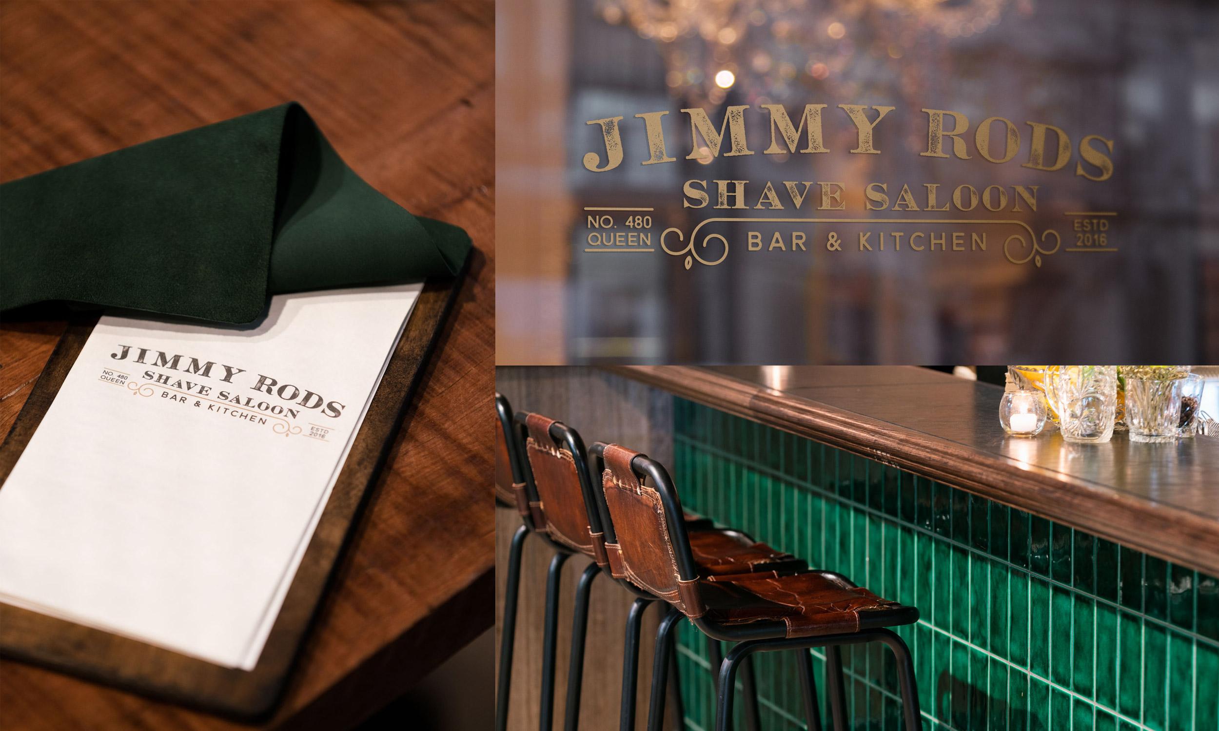 Jimmy Rods Shave Saloon menu   Window shop sticker