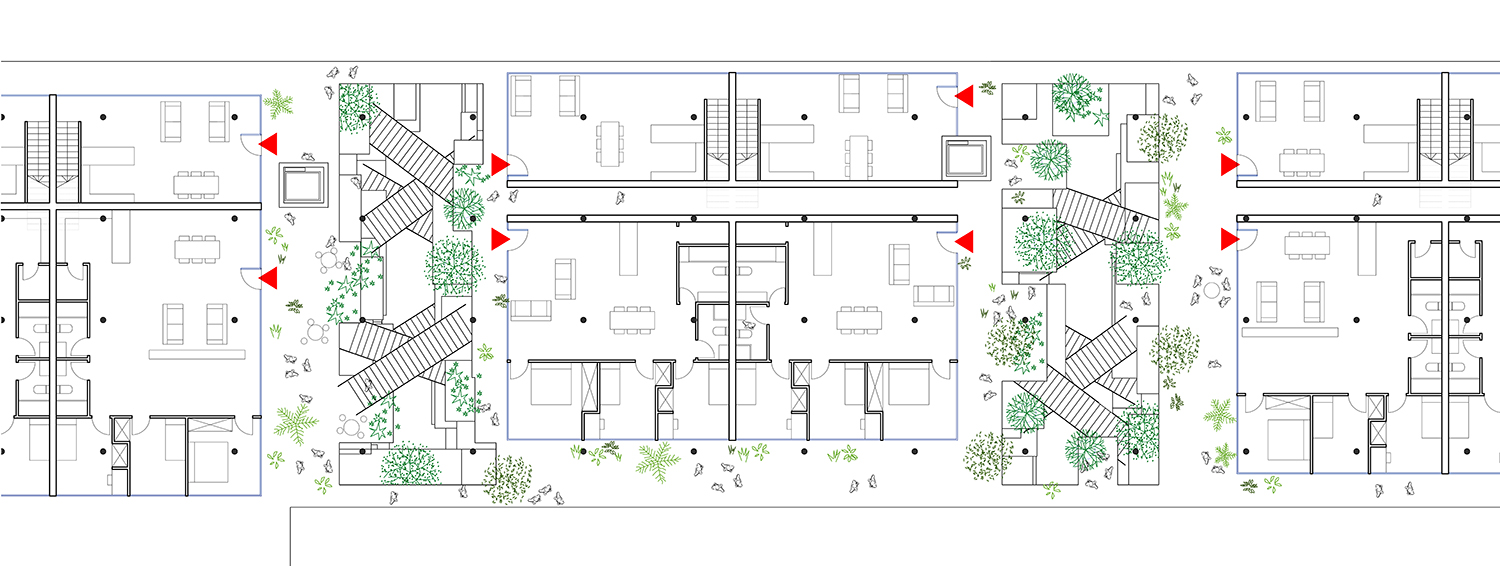 """Typical """"little neighborhood"""" - the """"social green"""" as access and communicative space"""
