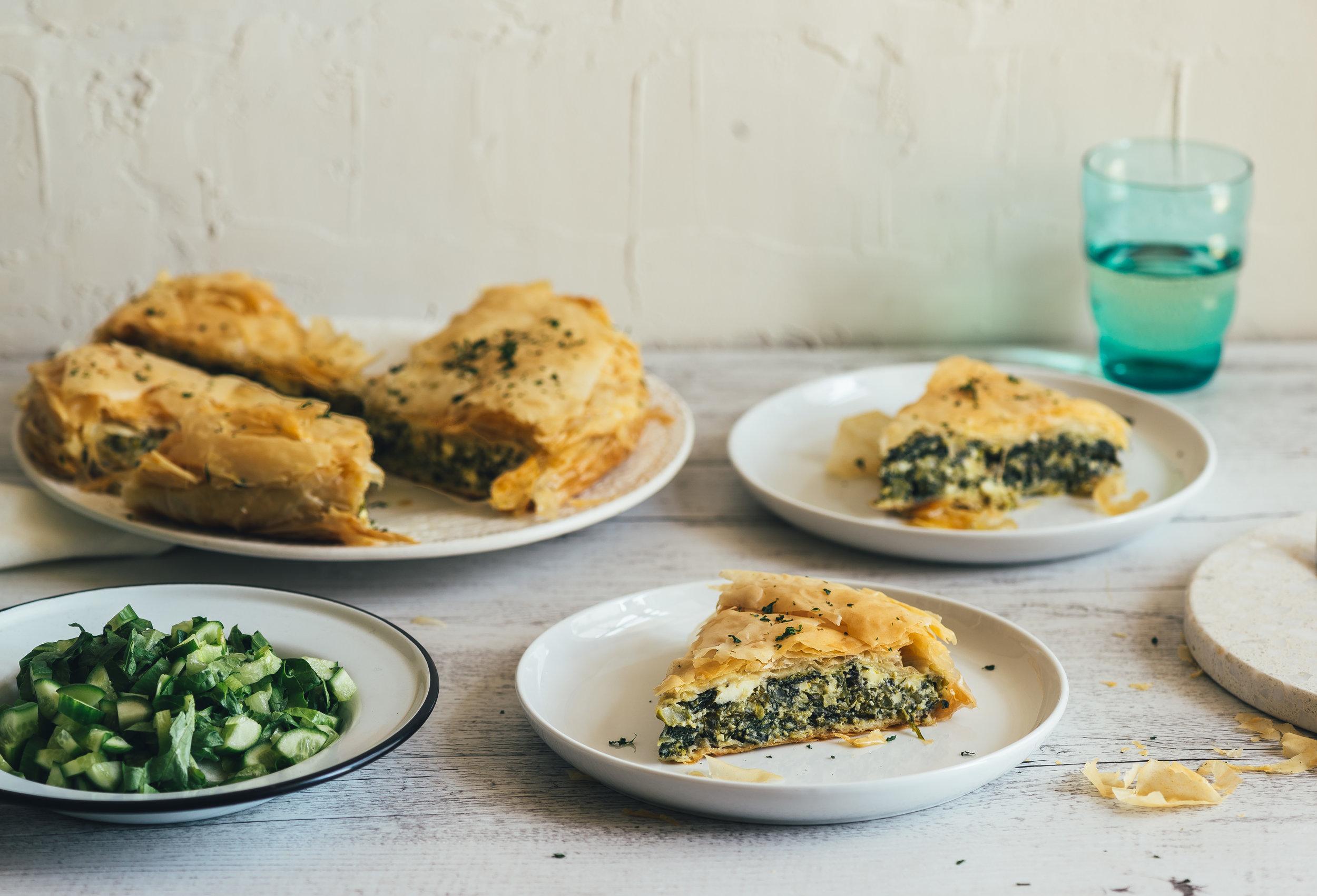 Leftover Greens Fillo Pie