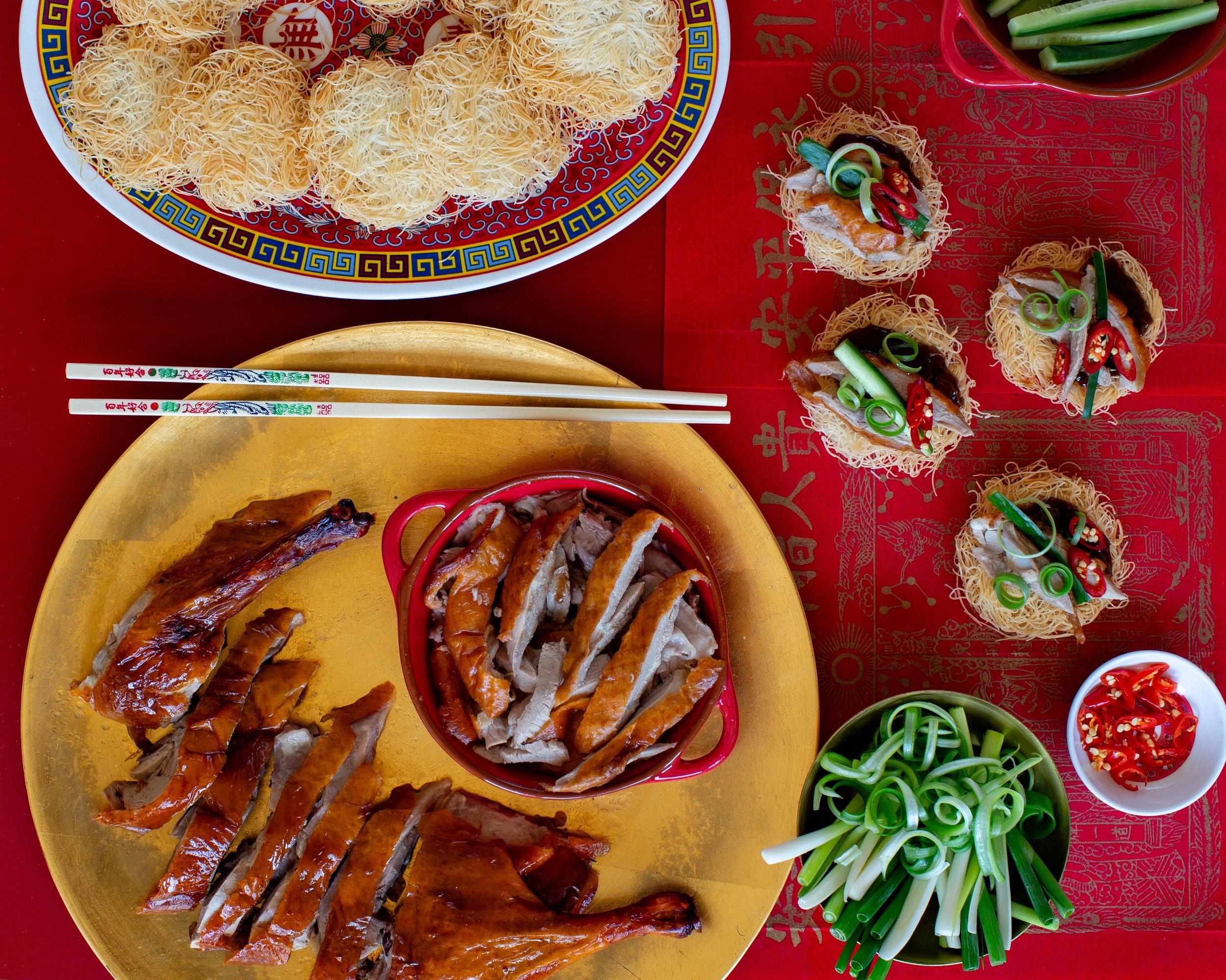 Peking Duck Kataifi Pancakes