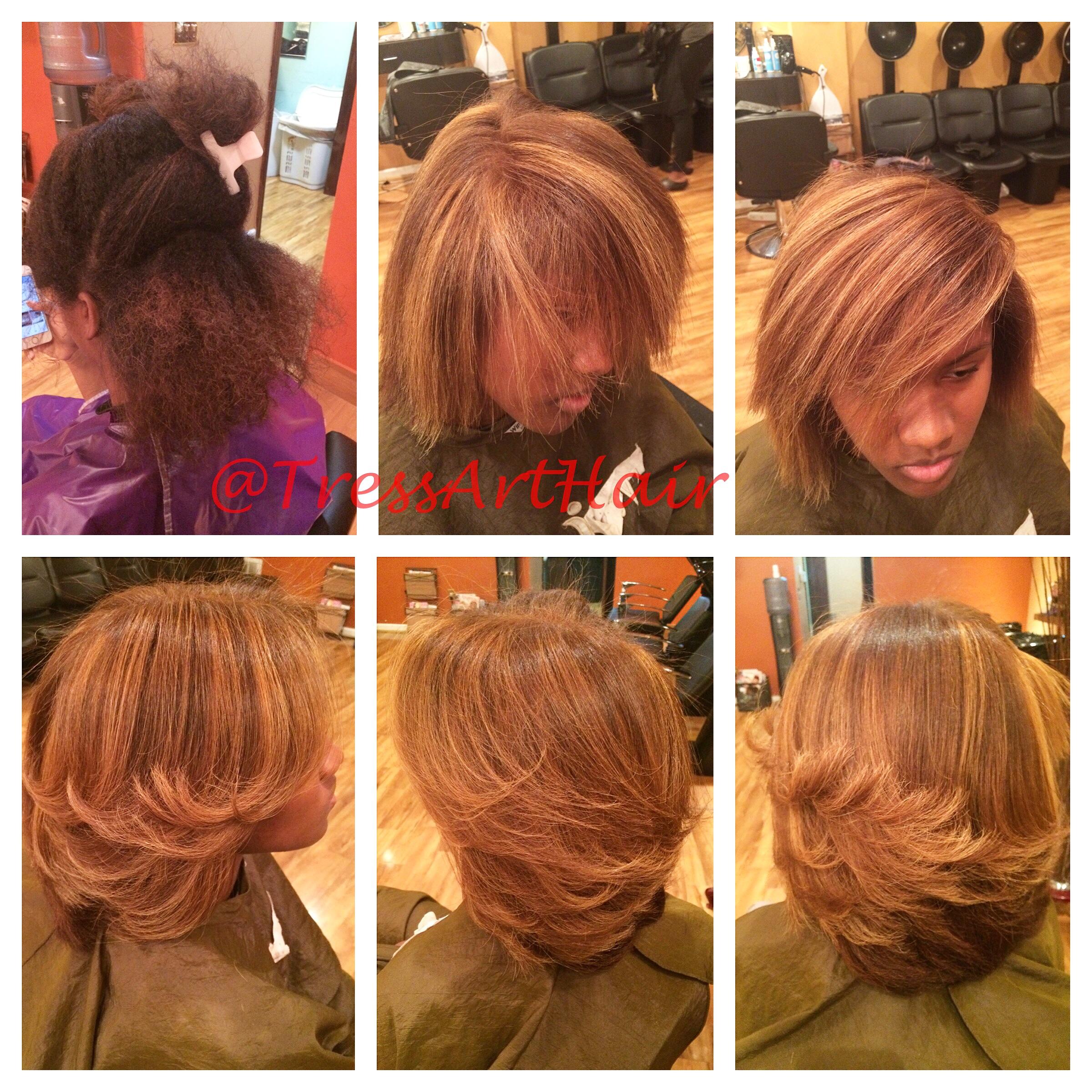 Natural hair. Base change. Foil highlights. Silk press