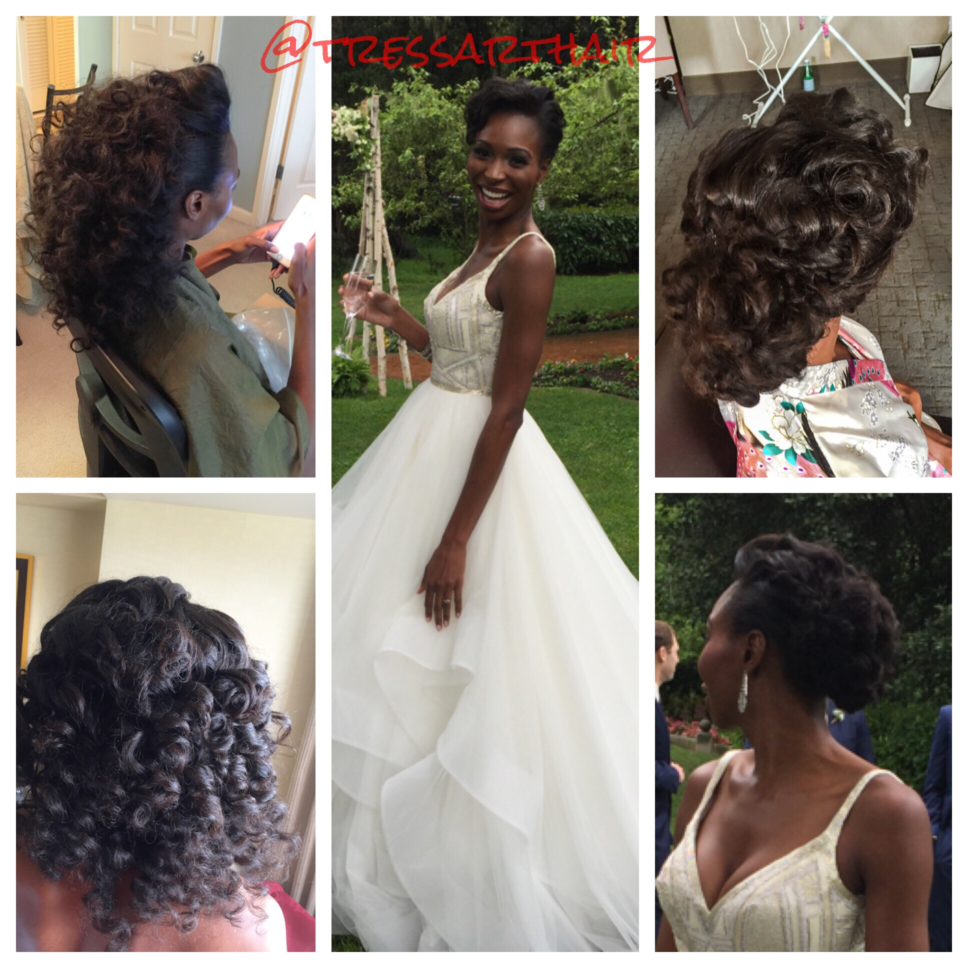 Natural hair, Clip-in extensions (Heat-free hair company). Wand-curled.