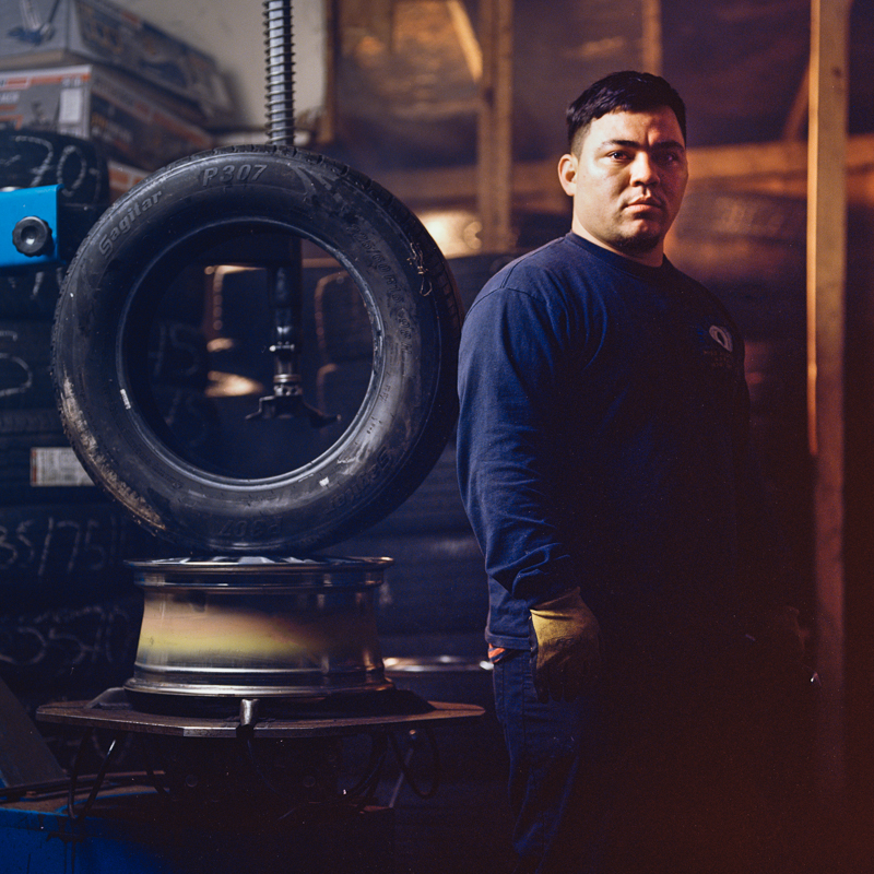 Tire shop worker, Kevin, 2019