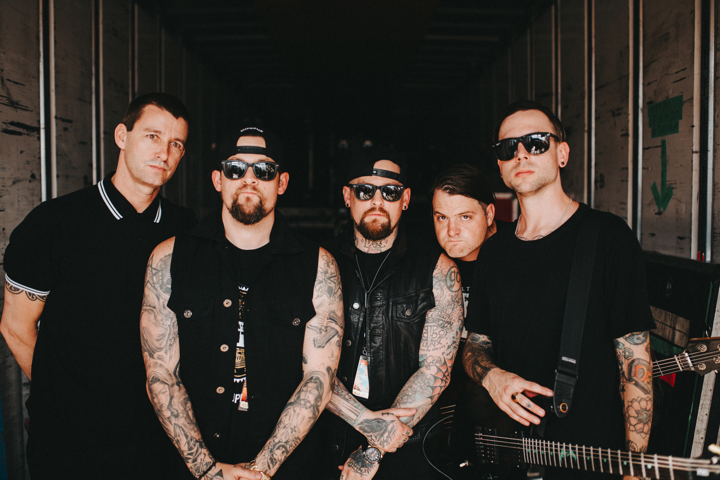 Noblesville, IN.  Good Charlotte's first day on Warped. This is by far, my favorite band portrait of all time.  I took it and wanted to run to my bus to edit right away.