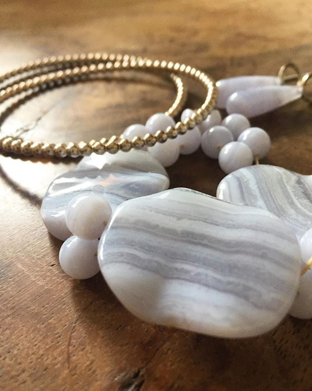 Blue lace agate and sterling silver for Spring. #svgjewellery #handmade