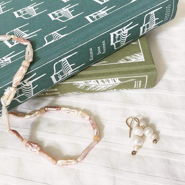 Wearing pearls just to read Jane Austen.. #svgjewellery #handmade
