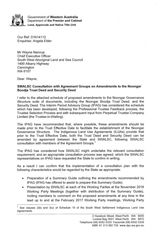 Letter from State to SWALSC outlining agreed consultation process