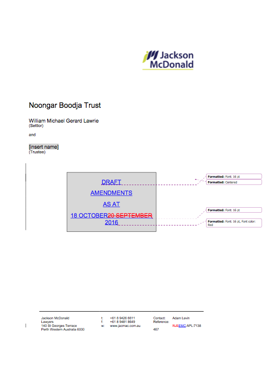 Proposed tracked-changes to Noongar Boodja Trust Deed