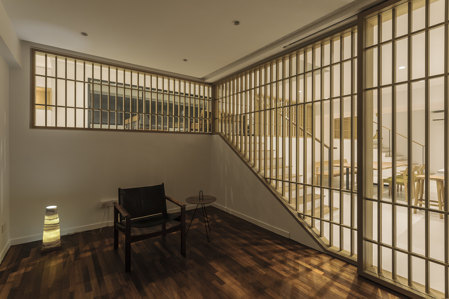 Timber louver with cosy light at Pandan Valley Condominium