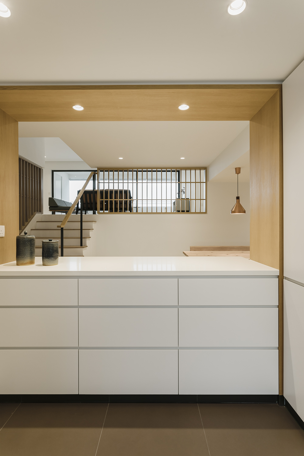 Open kitchen counter Kitchen counter provides visual continuity to dining room at Pandan Valley Condominium