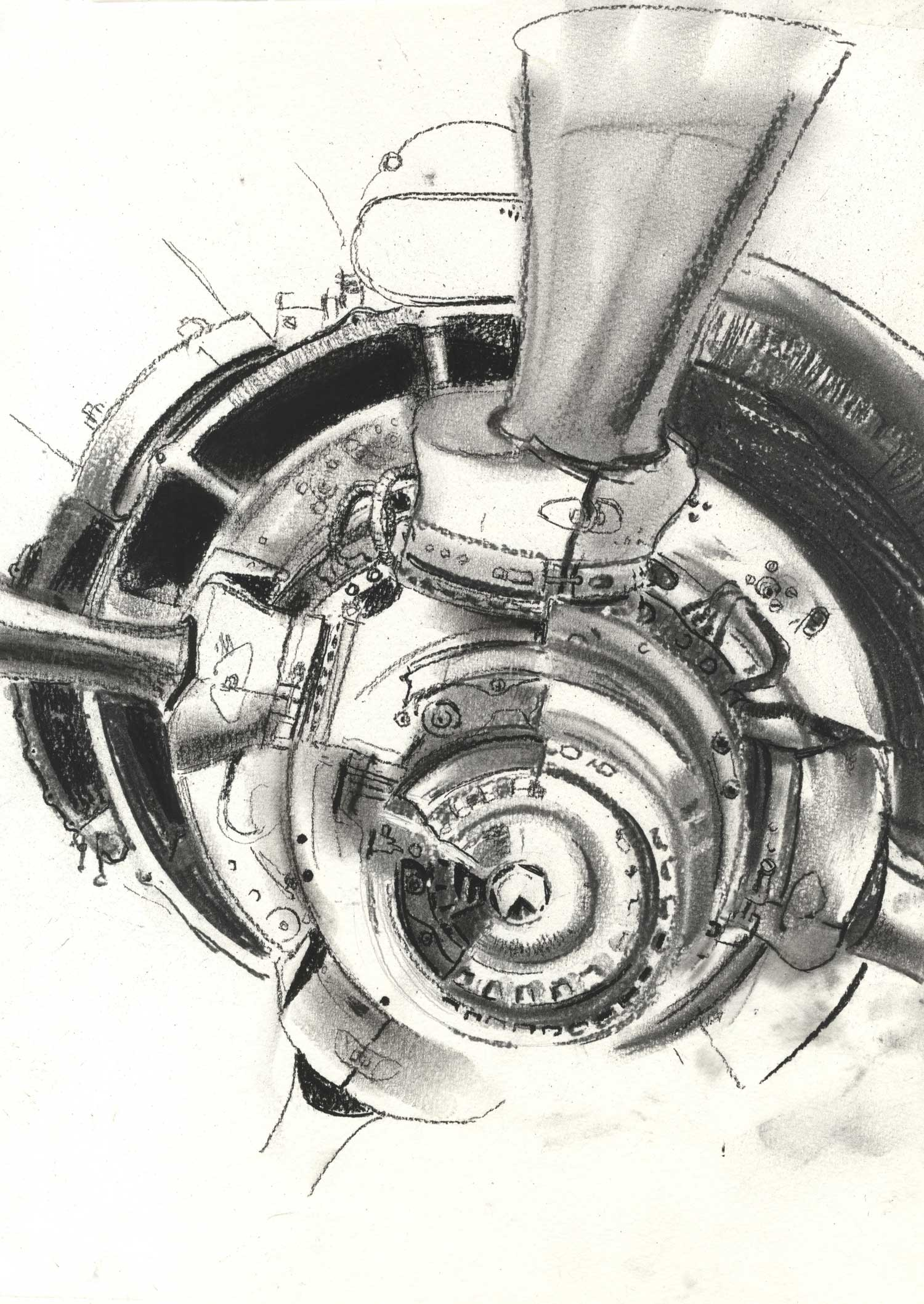 Cross section of airplane engine, Knightstone Tearooms, Yelverton