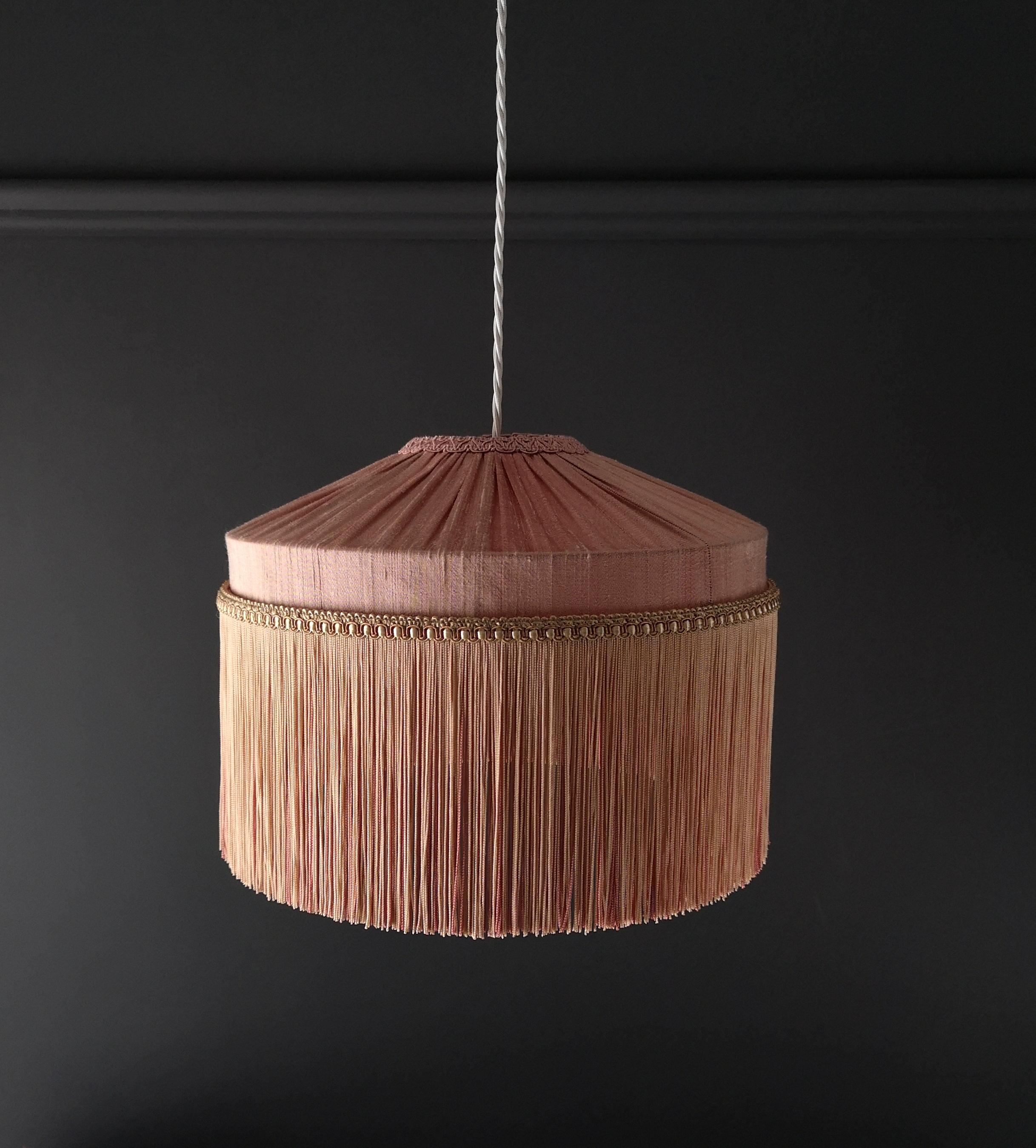 Picture of: Tiffany Lamp Shade Straight Fringe Blush Pink Tin Design