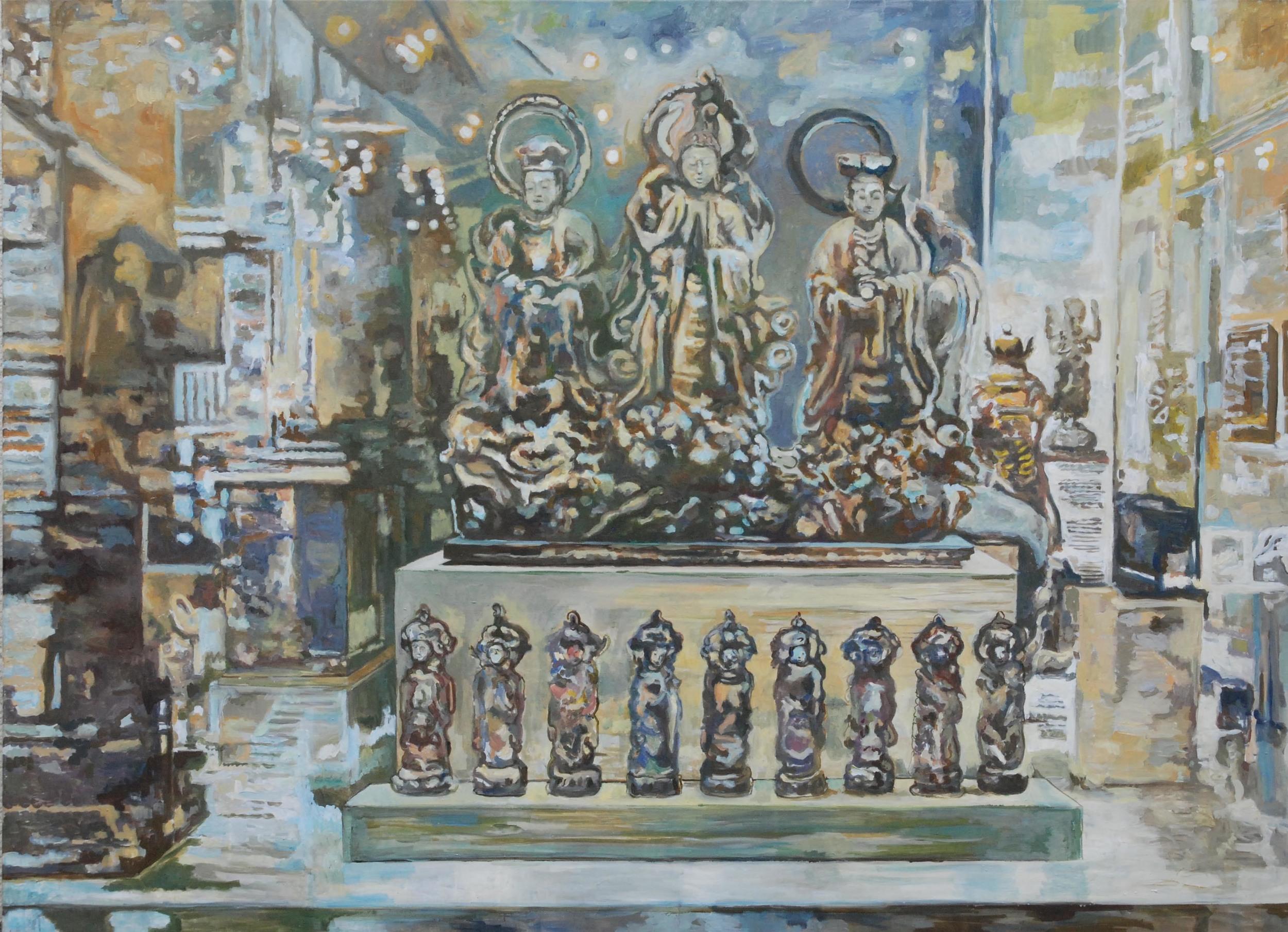 showcase, giumet   oil & eggtempera on canvas  150 x 195 cm   1997