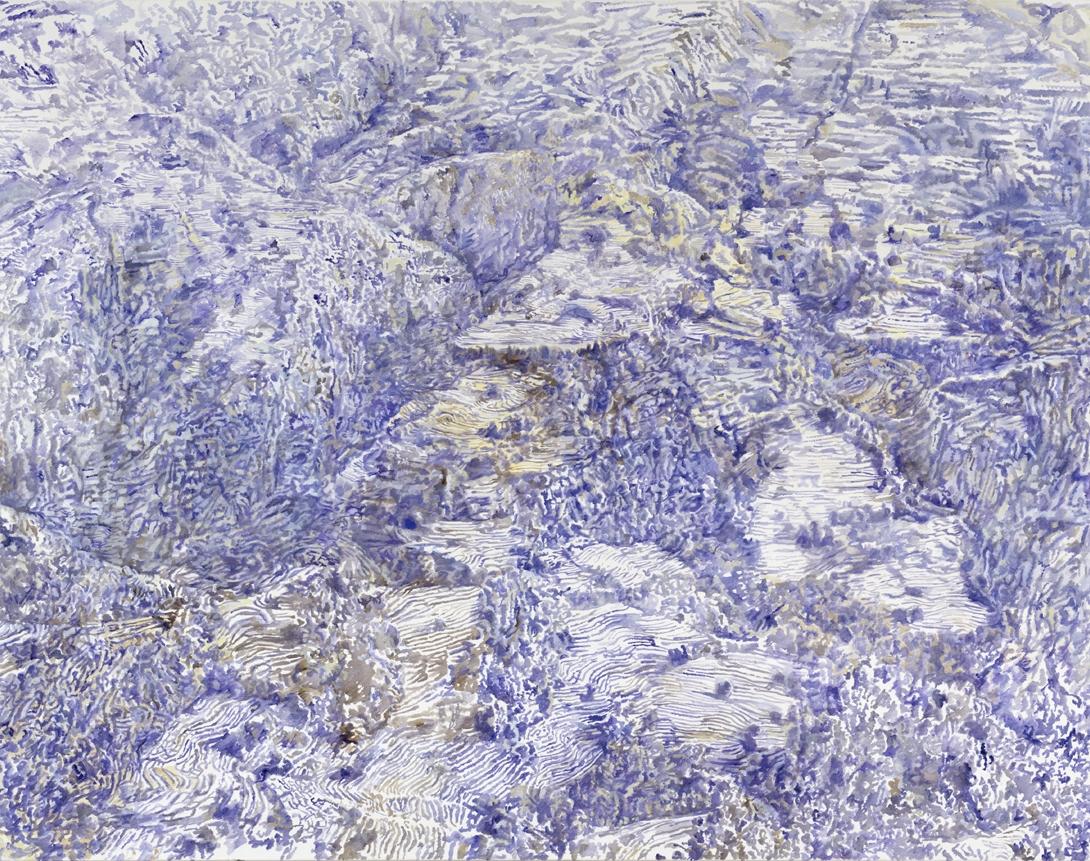 mountainside, fields   tempera & oil on cotton  195 x 250 cm   2007