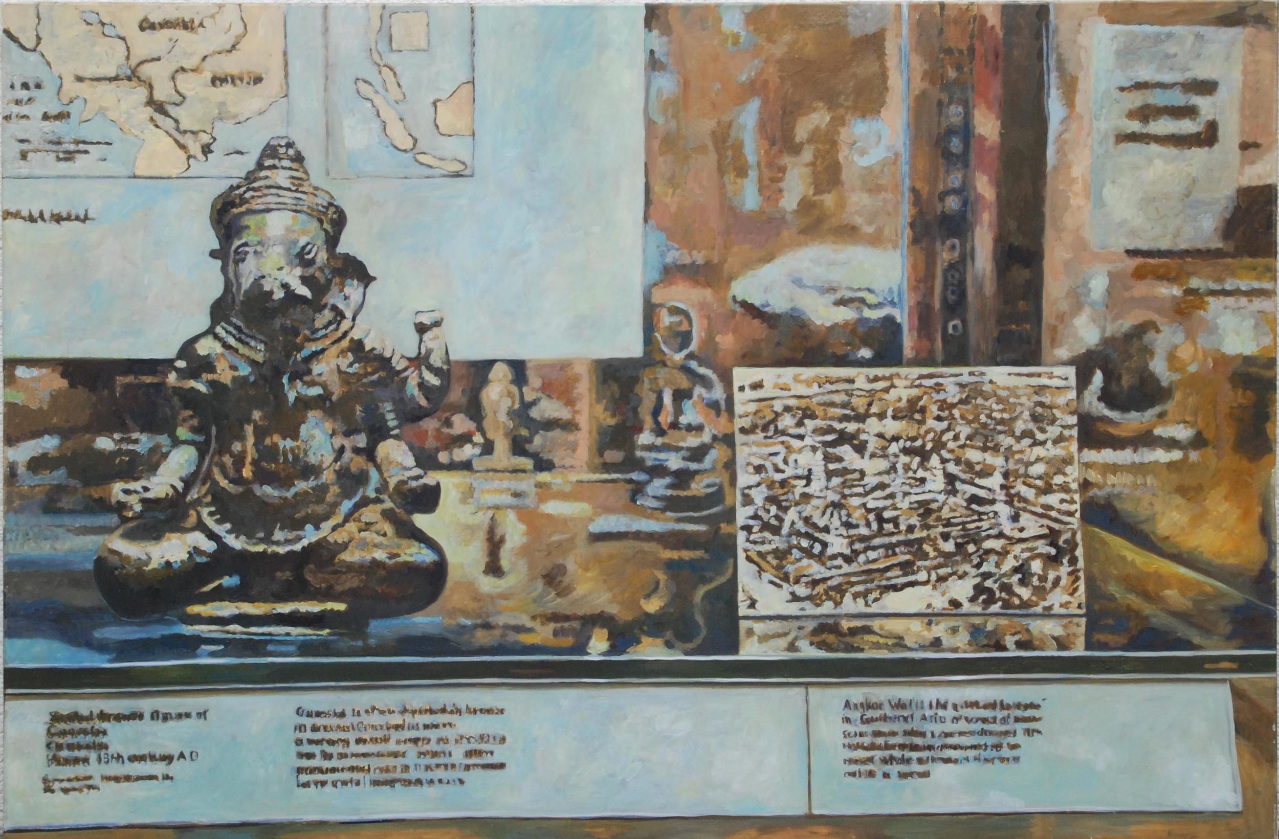 showcase, british museum   oil & eggtempera on canvas  130 x 185 cm   1998