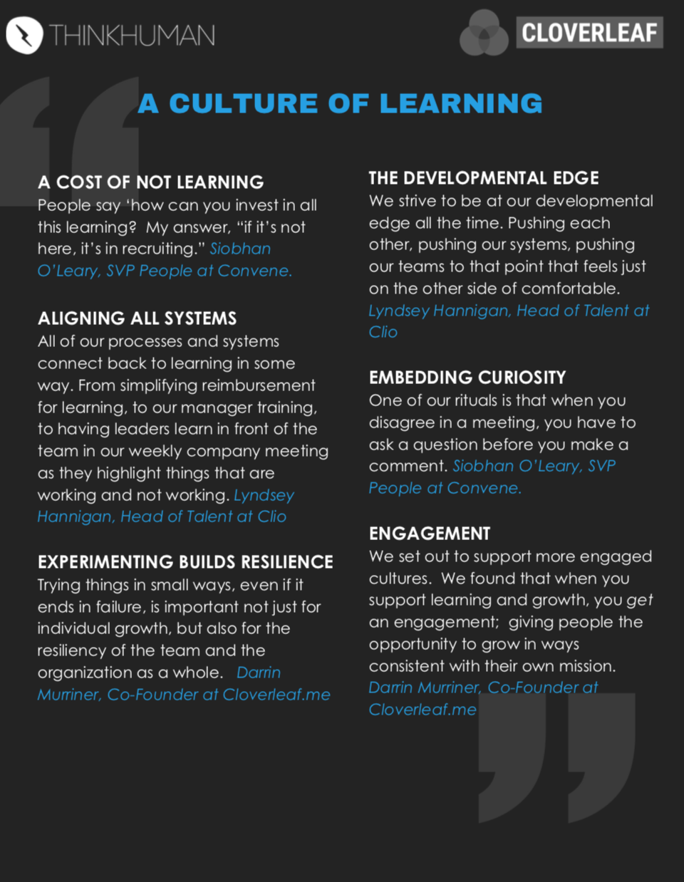 """A graphic of the key quotes of the """"Creating a Culture of Learning"""" webinar"""