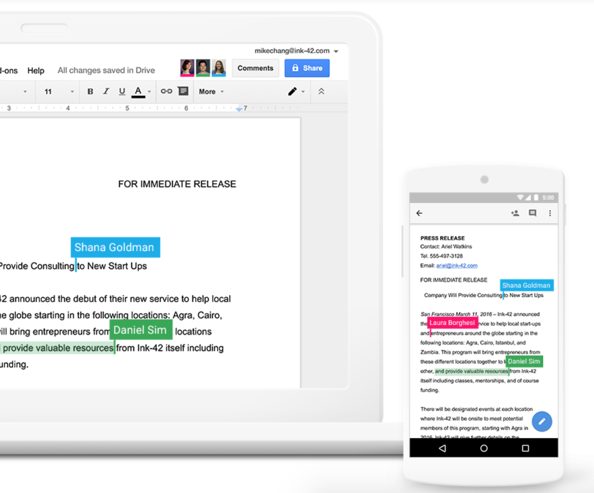 Google Docs editing and comment tools for teams