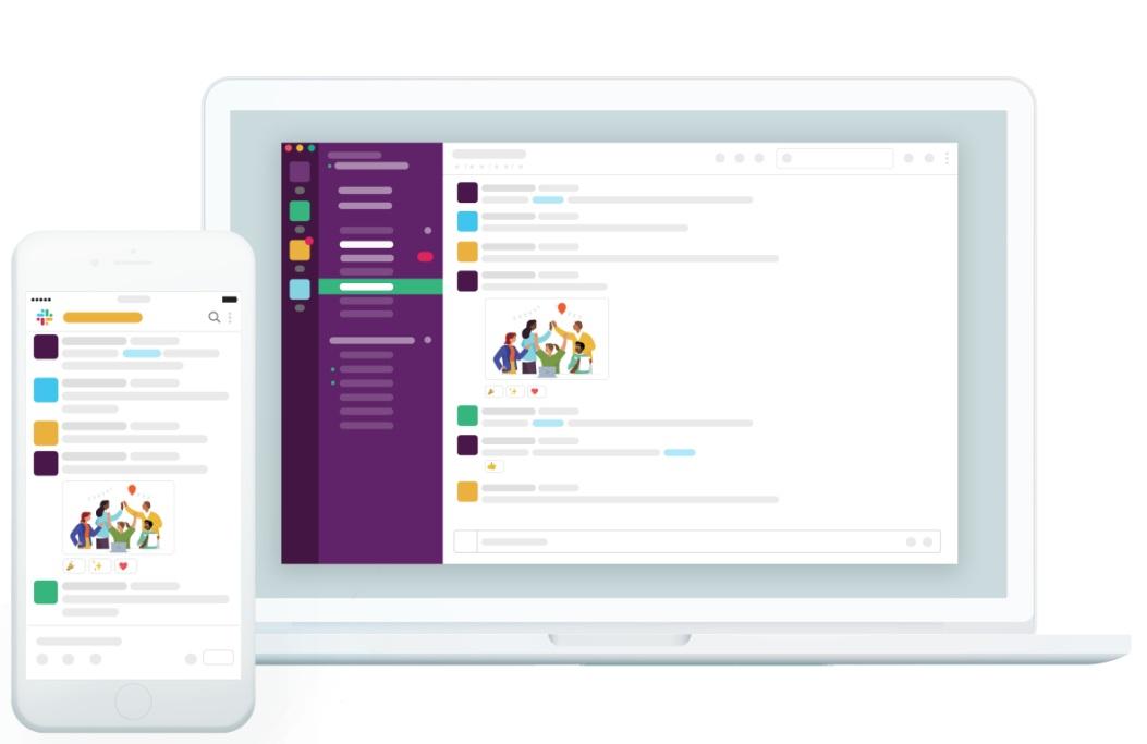 Slack team messaging on mobile and desktop