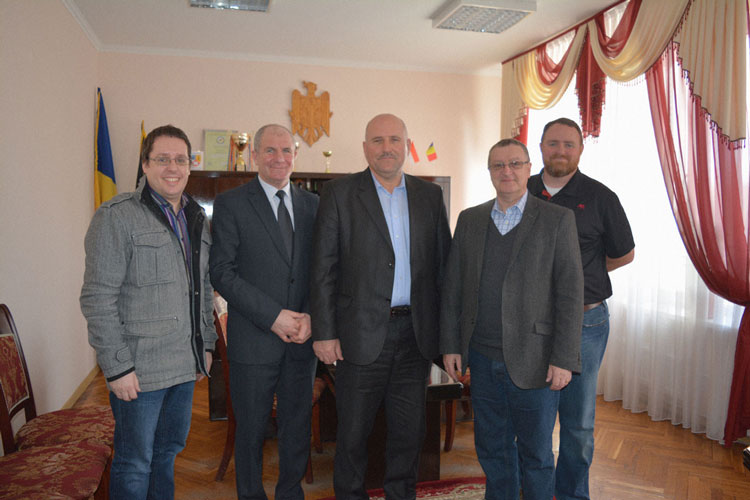 Pictured above from left: Mark Morgan / Europe Director, Stella's Voice; Sergiu Postica / Director, Leova Department of Children's Protection; Ion Gudumac / President, Leova; Brian Paterson / Executive Director, Stella's Voice; and Josh Hellums / House Parent, Adullam House