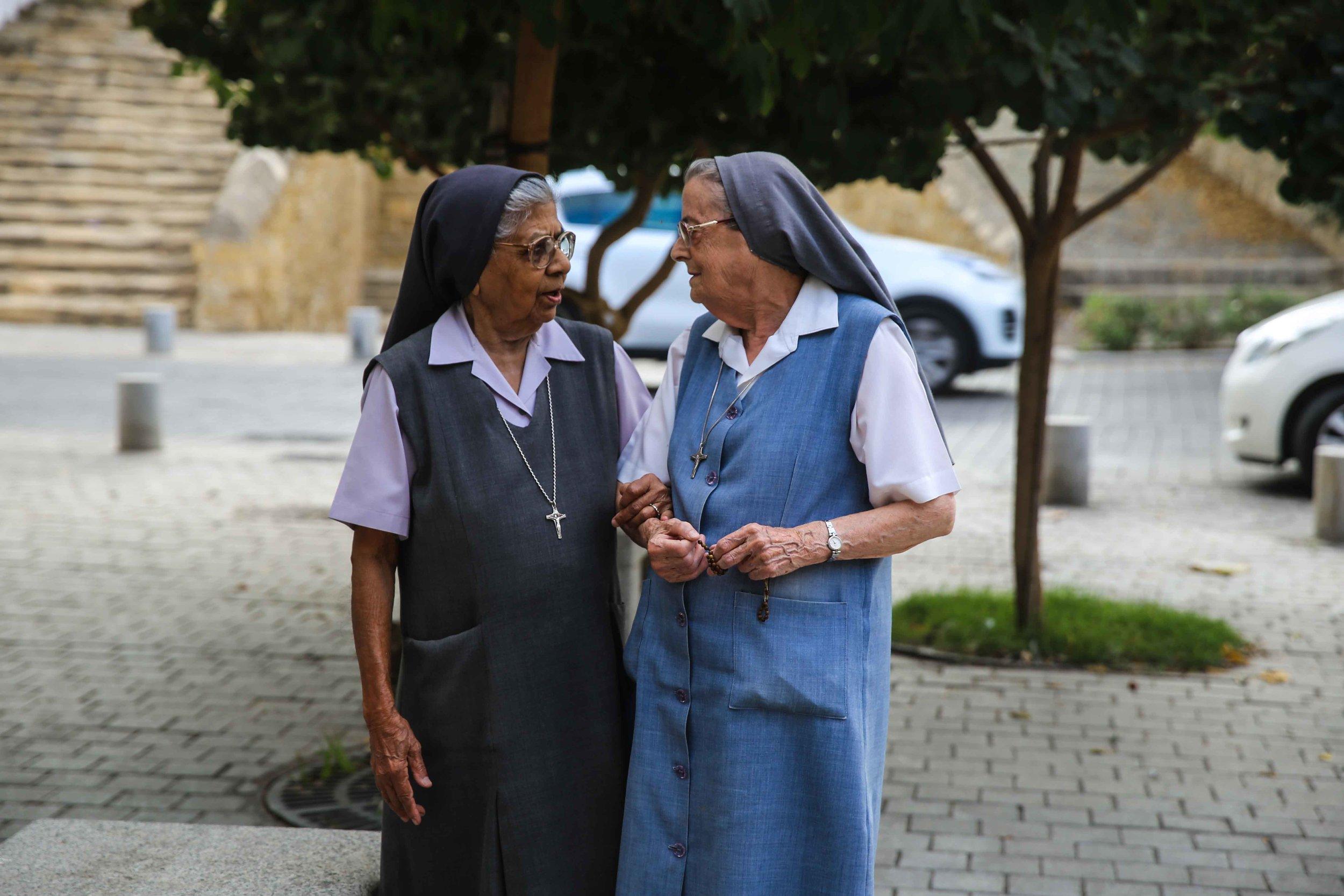 Nuns in Old Nicosia, Cyprus